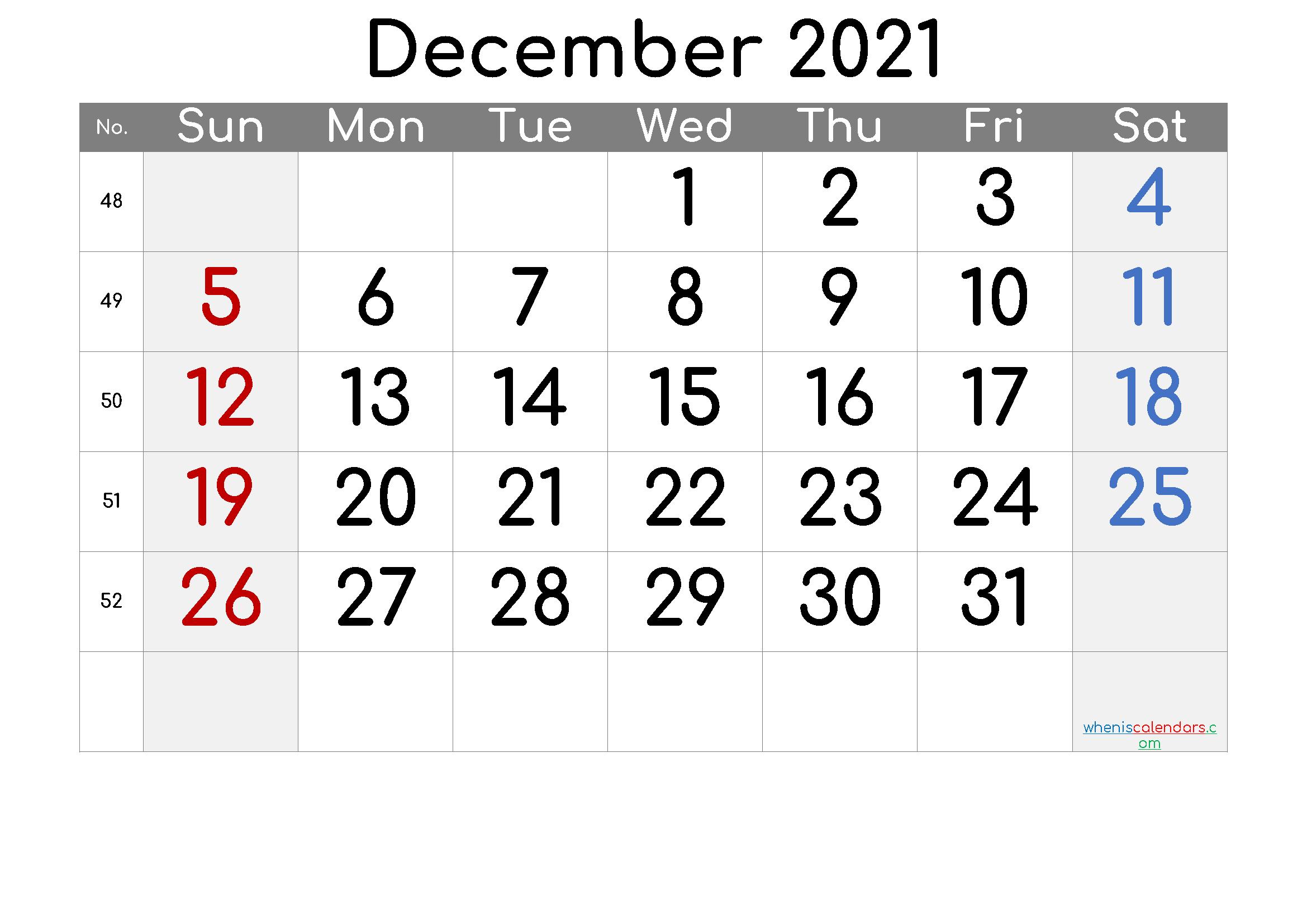 Printable Calendar 2021 December – Free Printable 2021 Monthly
