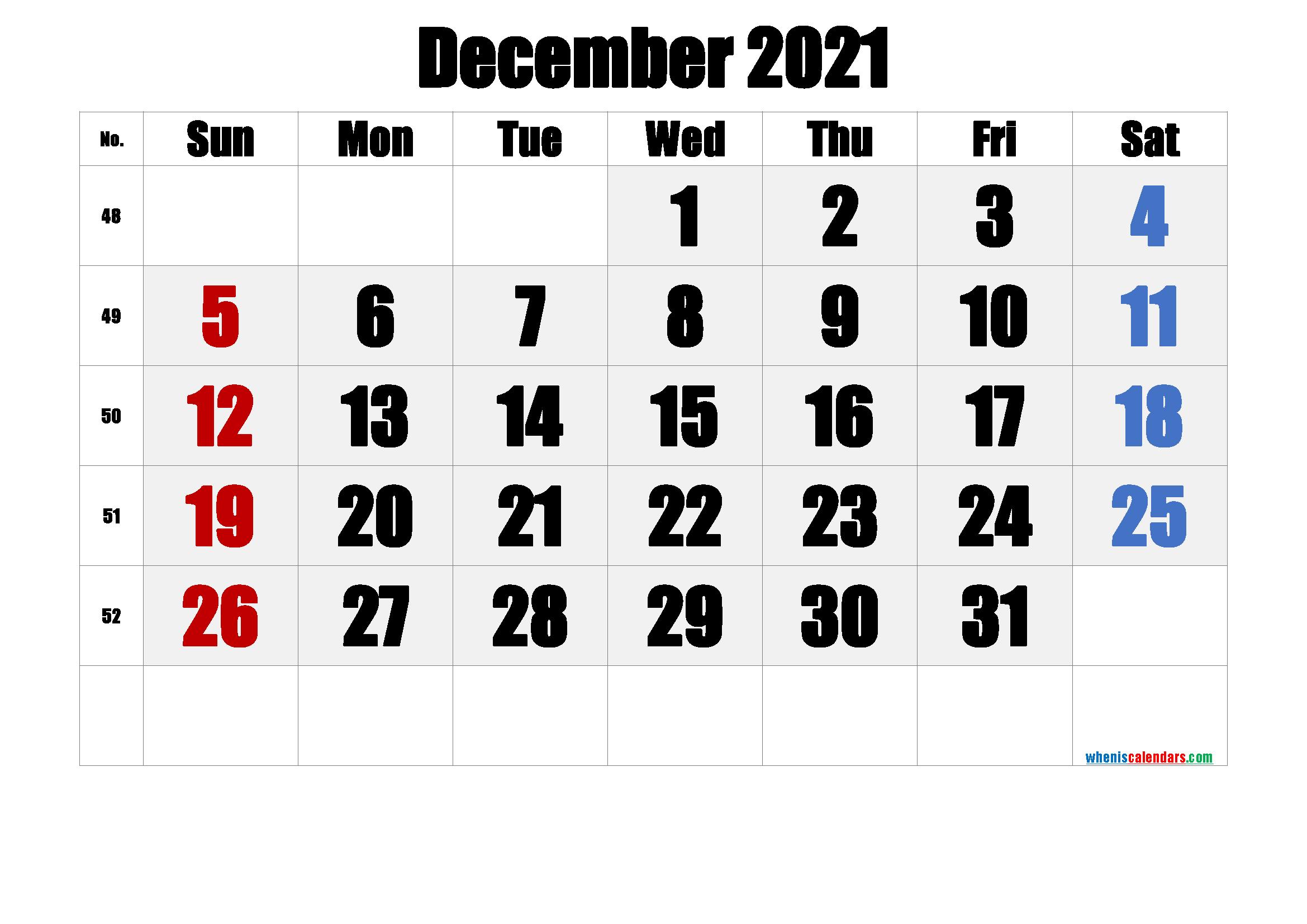 December 2021 Printable Calendar