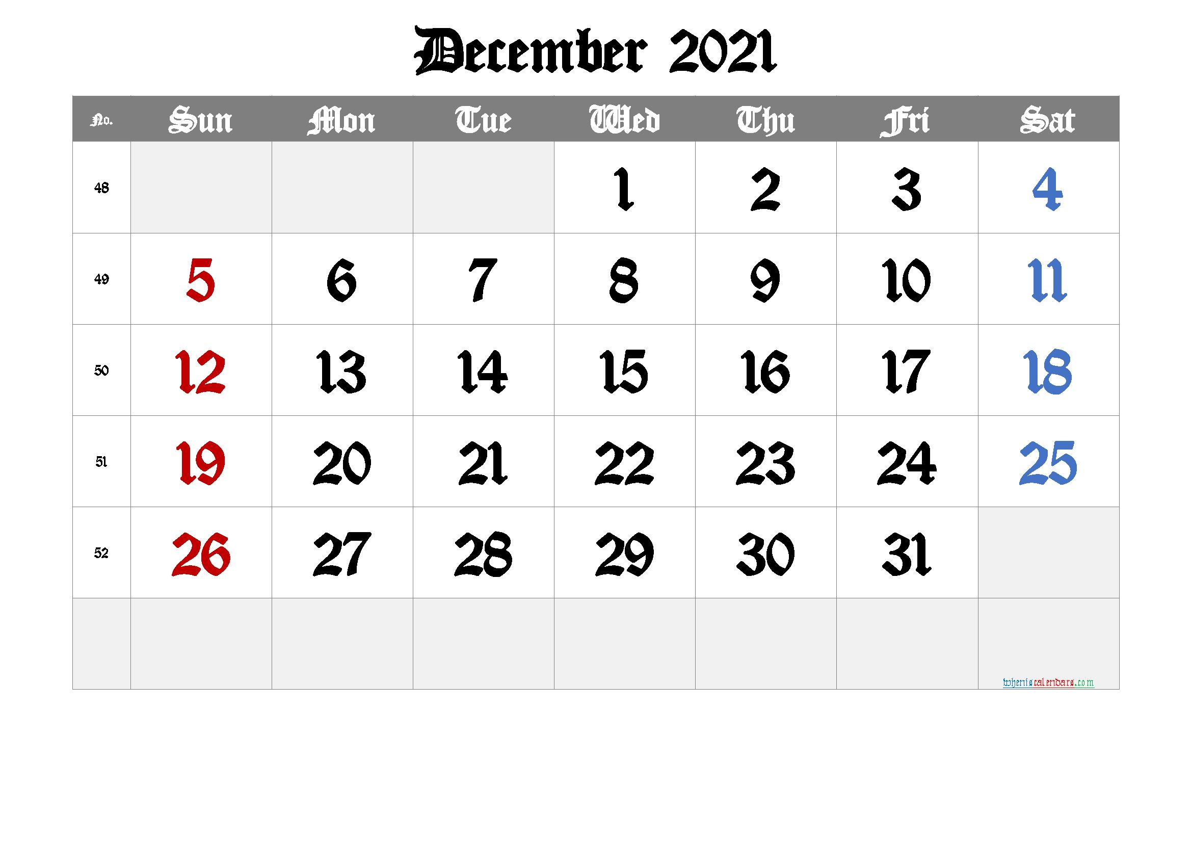 2021 December Free Printable Calendar