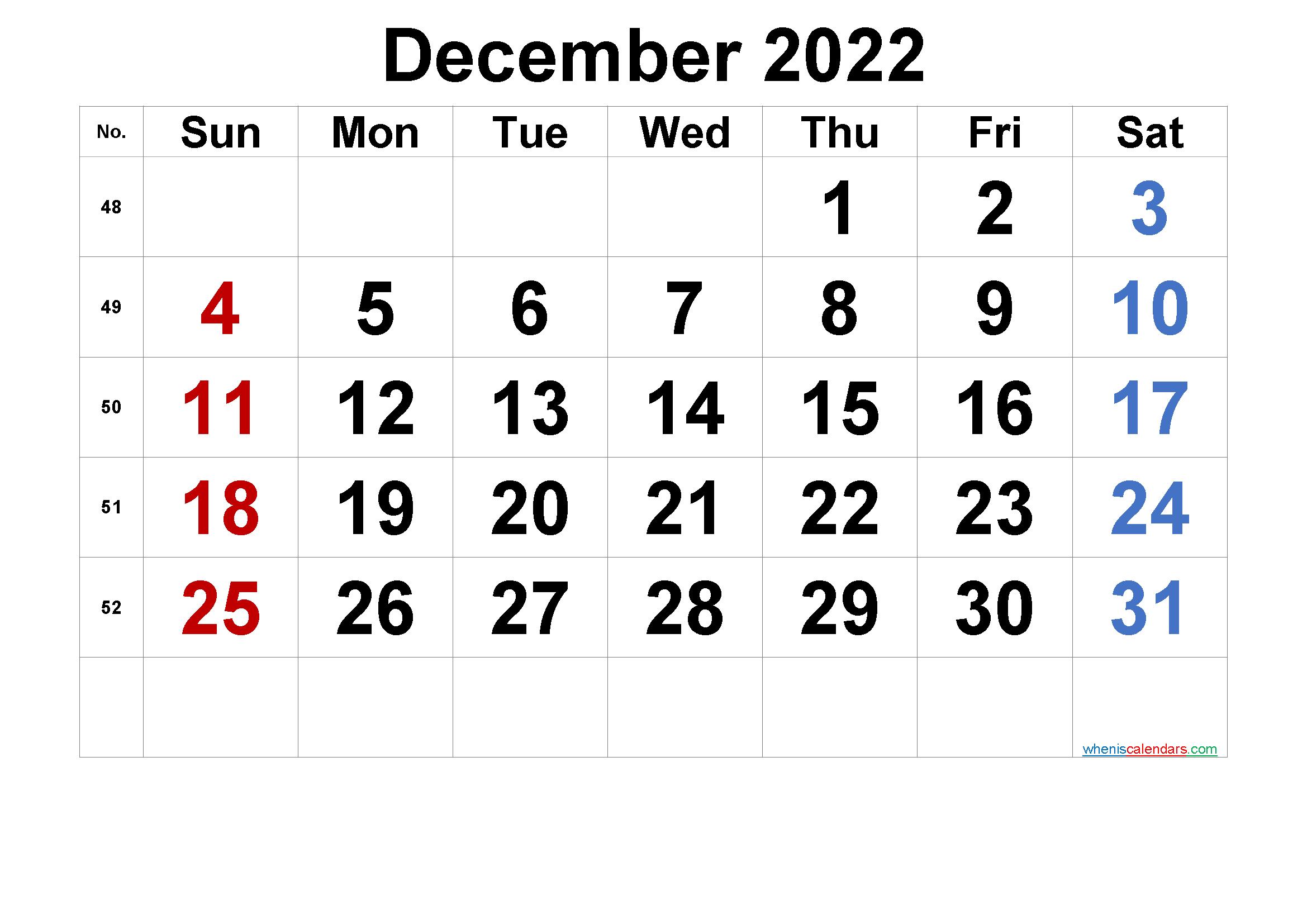 Printable Calendar December 2022