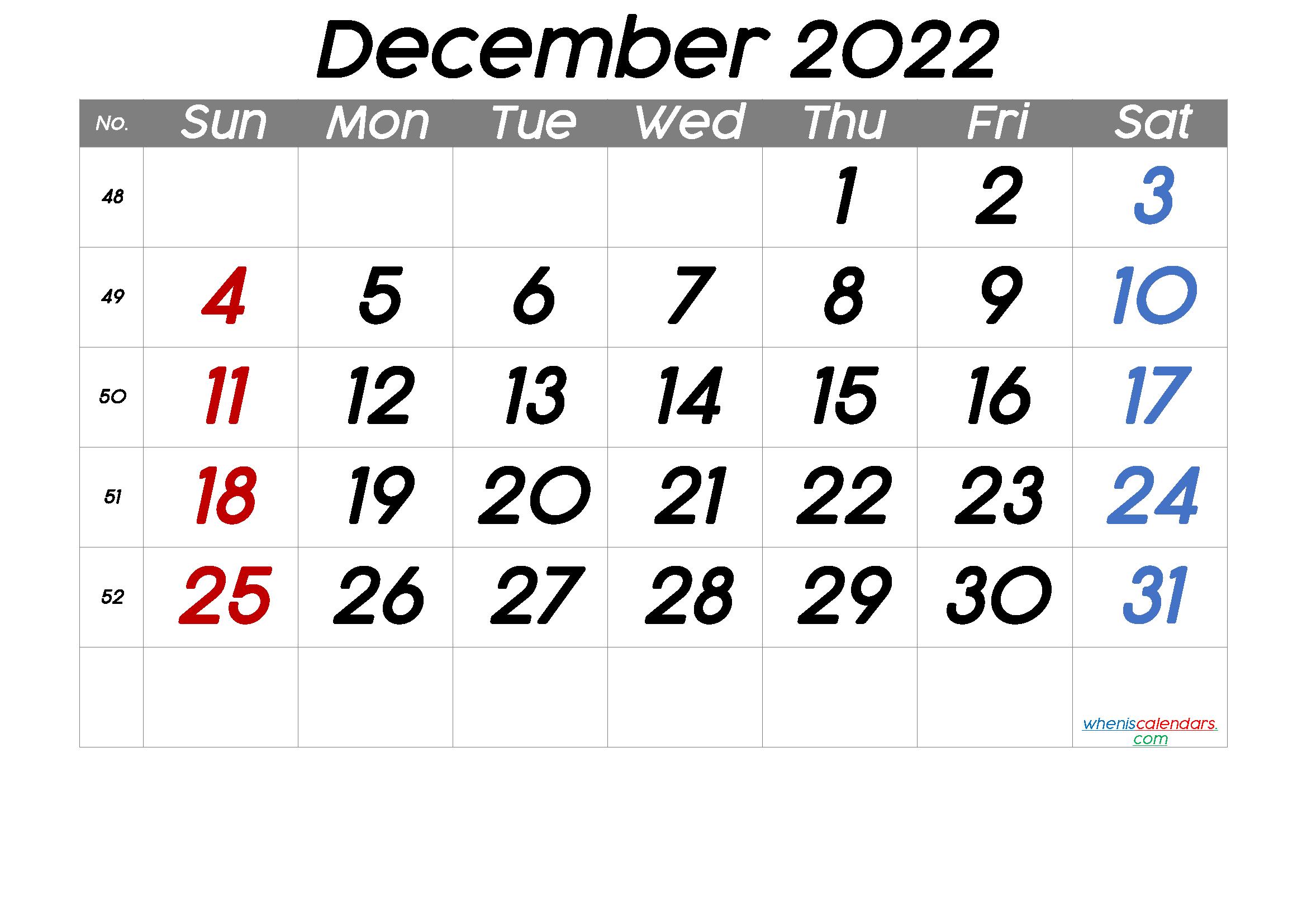 Printable December 2022 Calendar