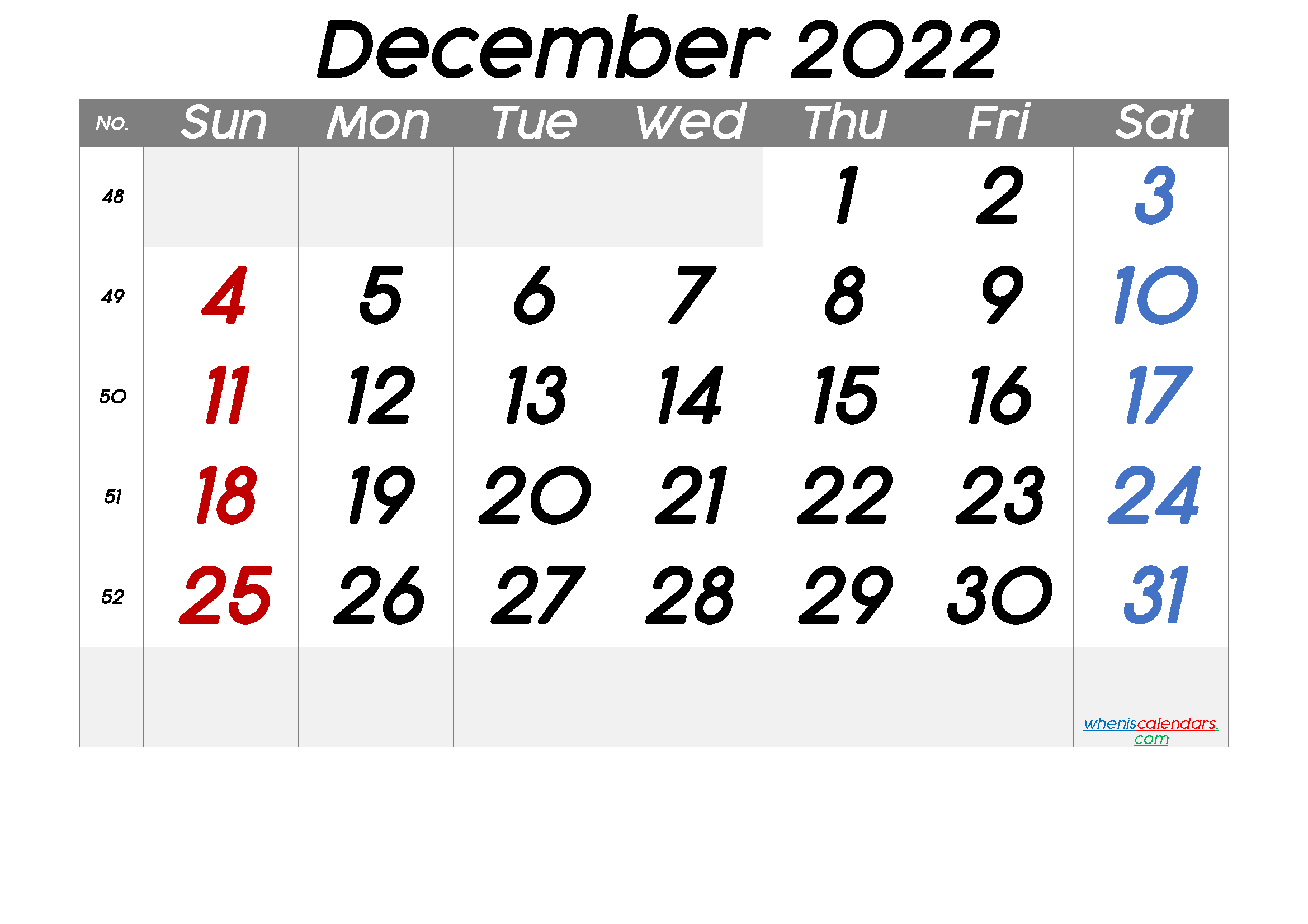 Free Printable December 2022 Calendar with Week Numbers