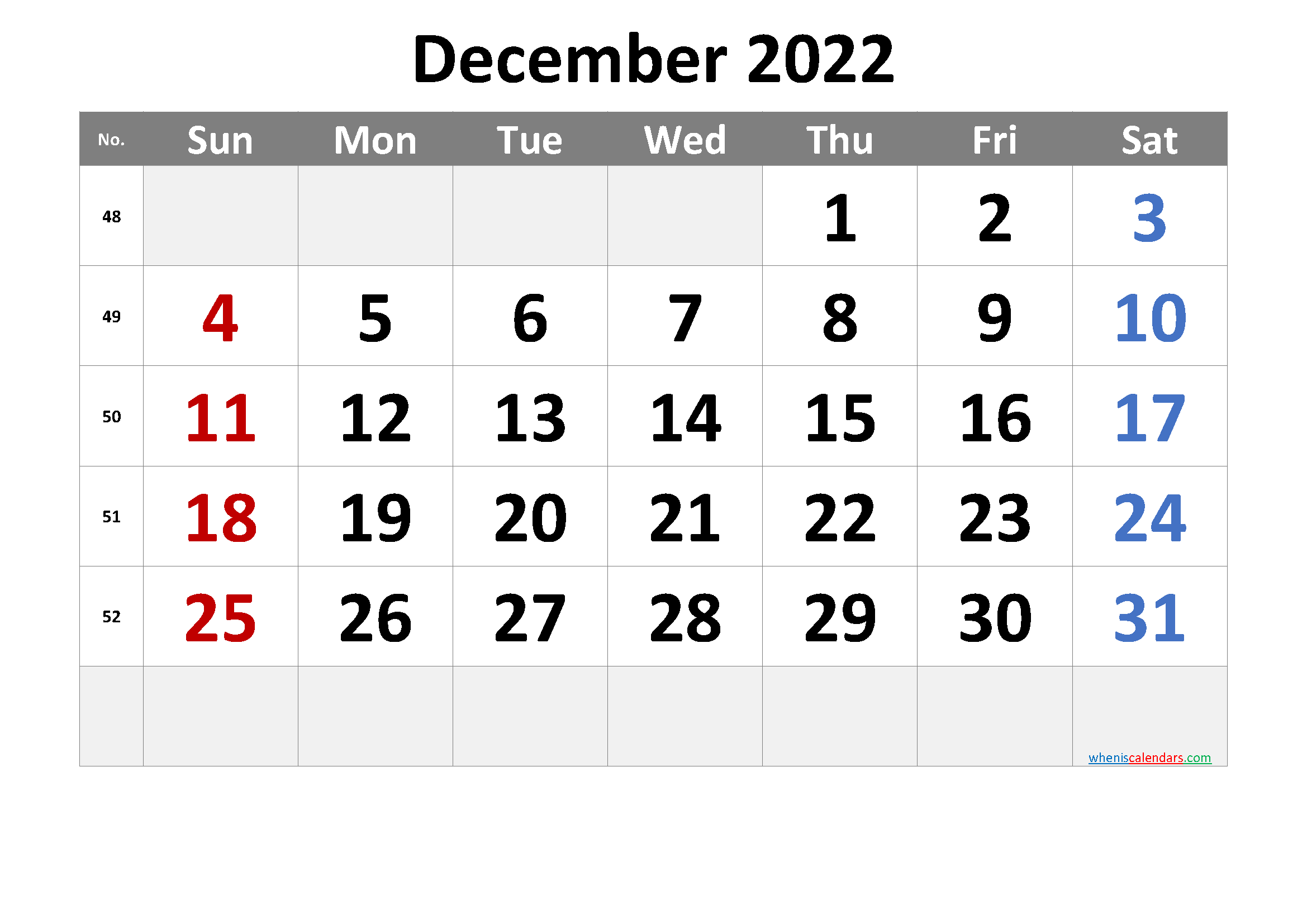 Printable December 2022 Calendar with Week Numbers