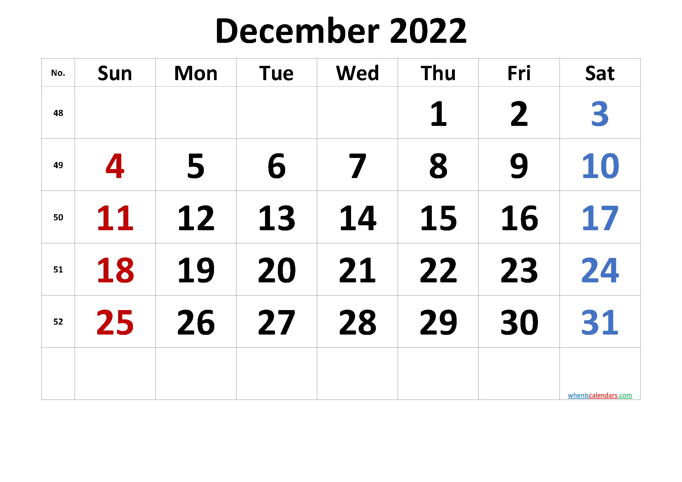 Free December 2022 Calendar with Week Numbers