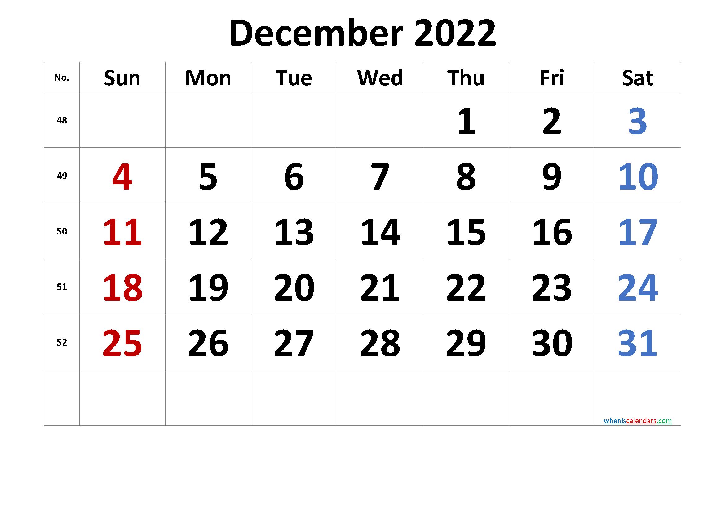 Free December 2022 Calendar