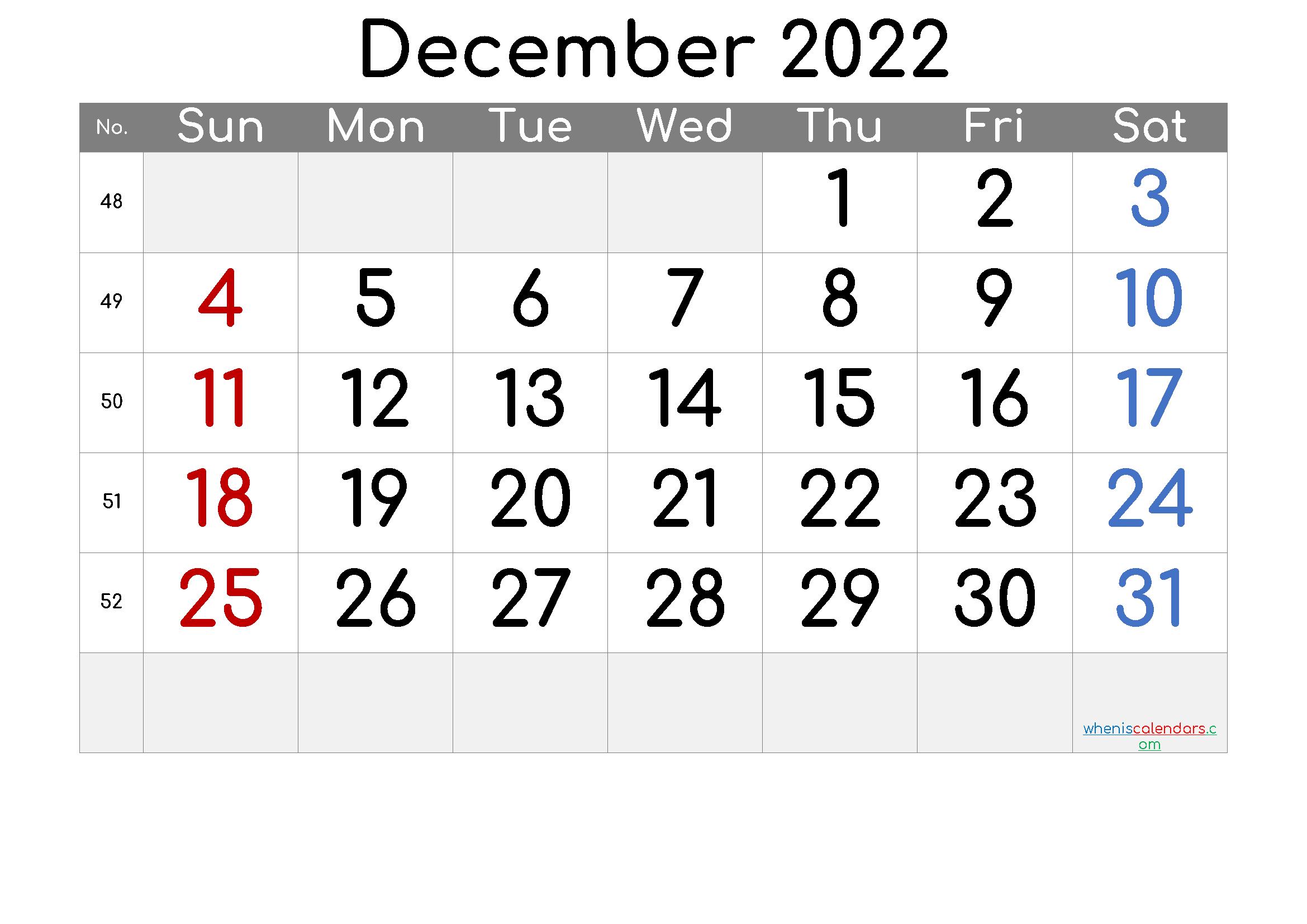 2022 December Free Printable Calendar