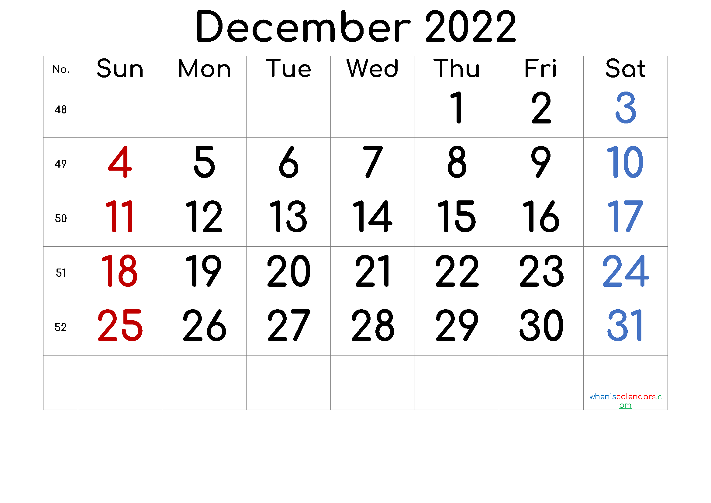 December 2022 Printable Calendar with Week Numbers