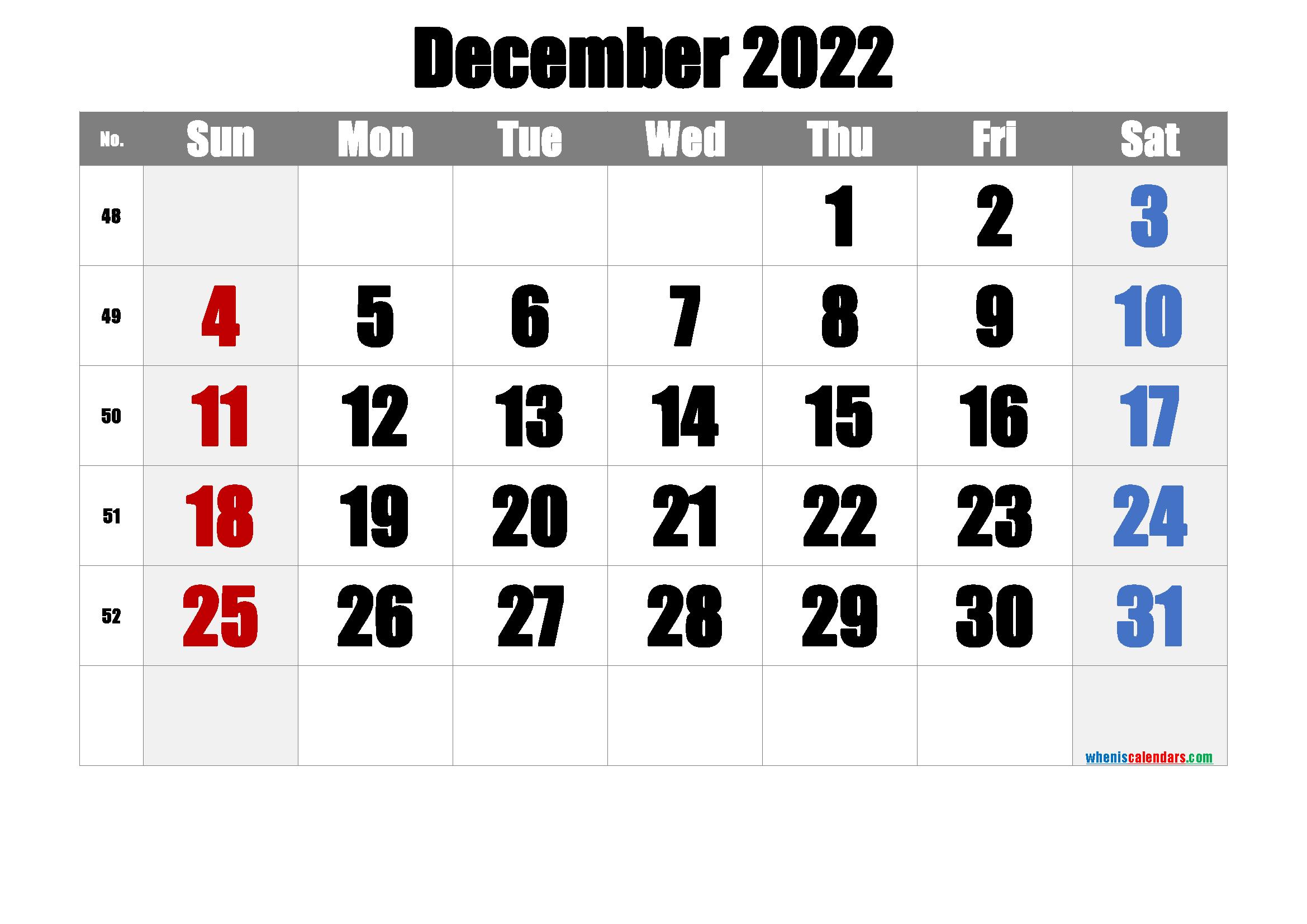 Free December 2022 Calendar with Week Numbers