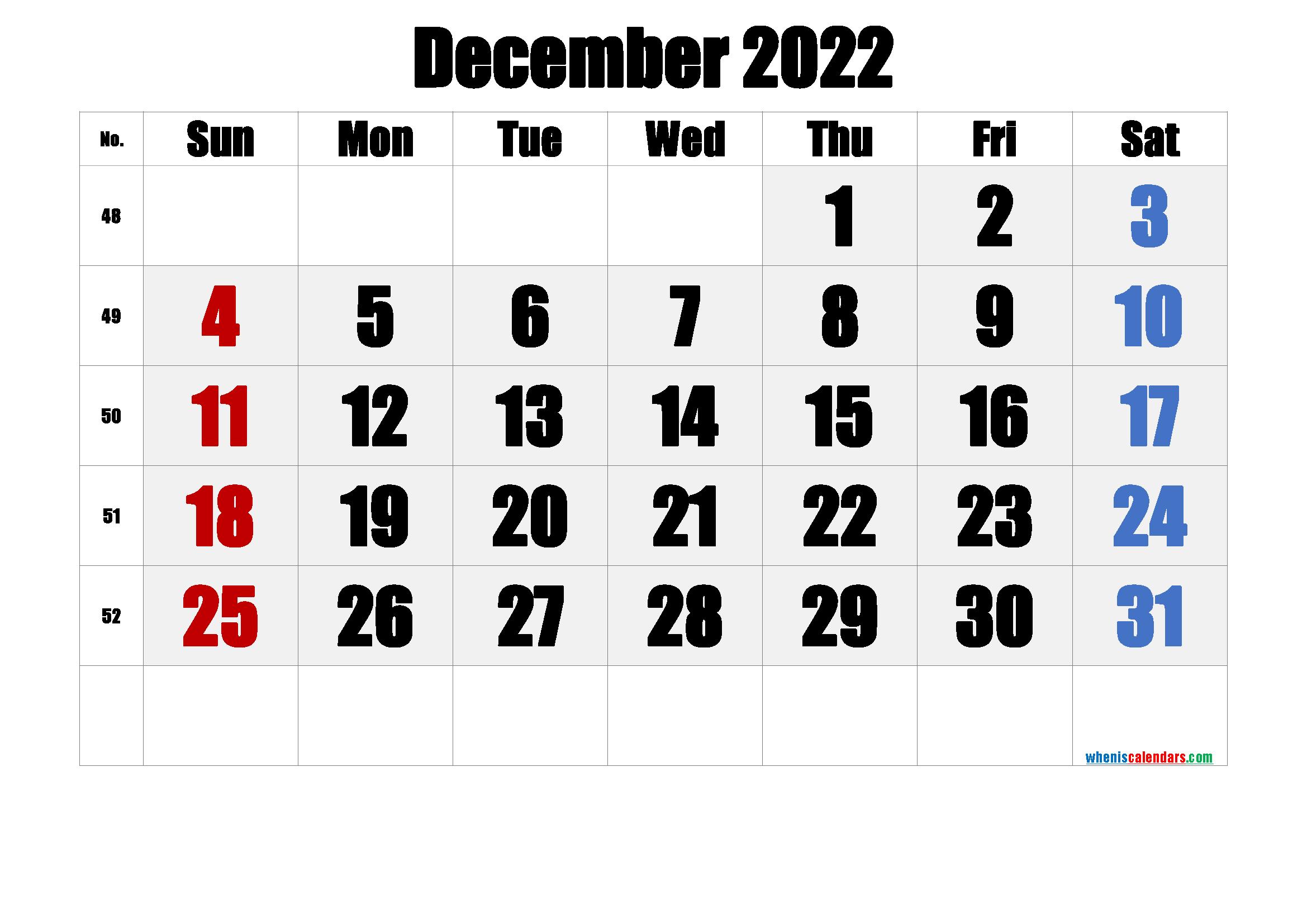December 2022 Printable Calendar