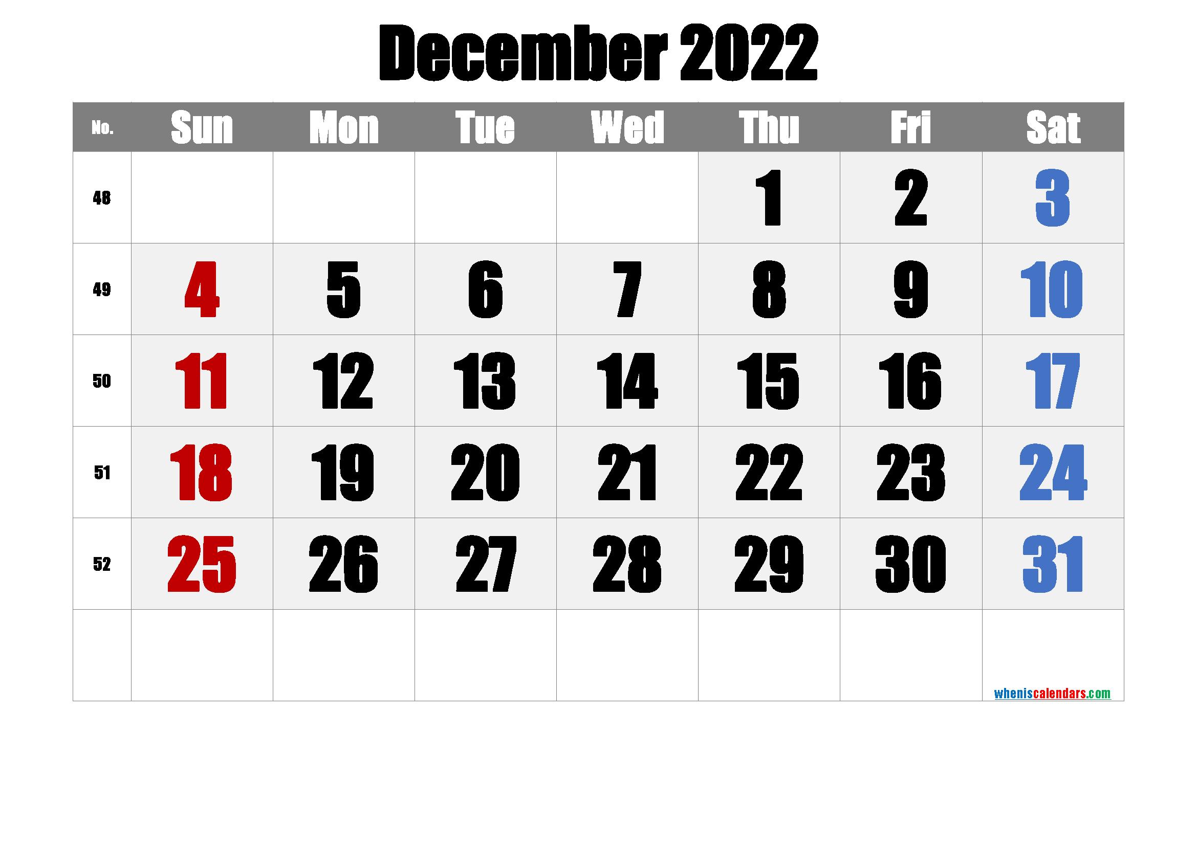 Free Printable Calendar 2022 December