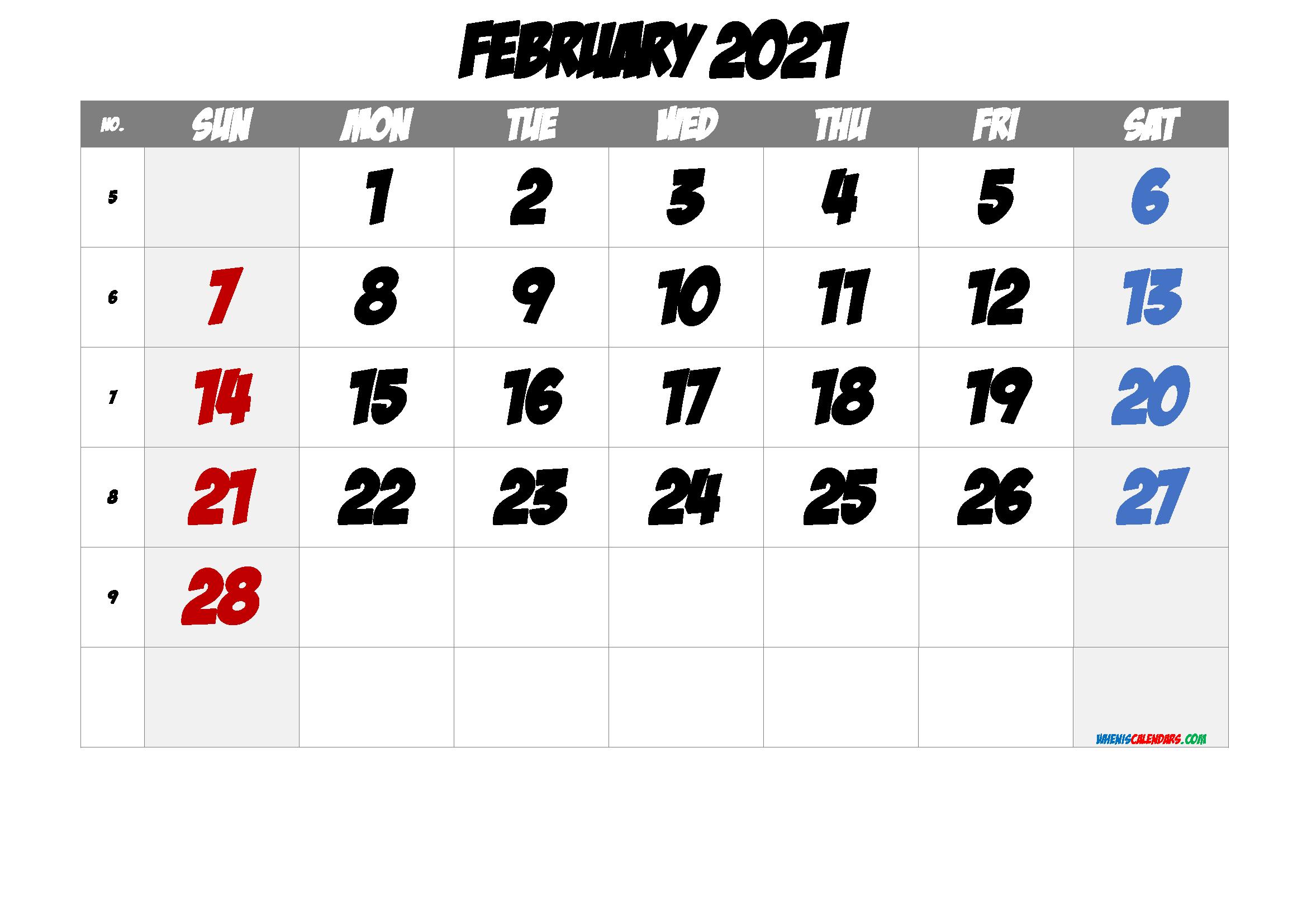 February 2021 Printable Calendar with Week Numbers