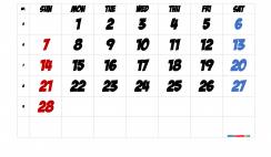 Free February 2021 Calendar with Week Numbers