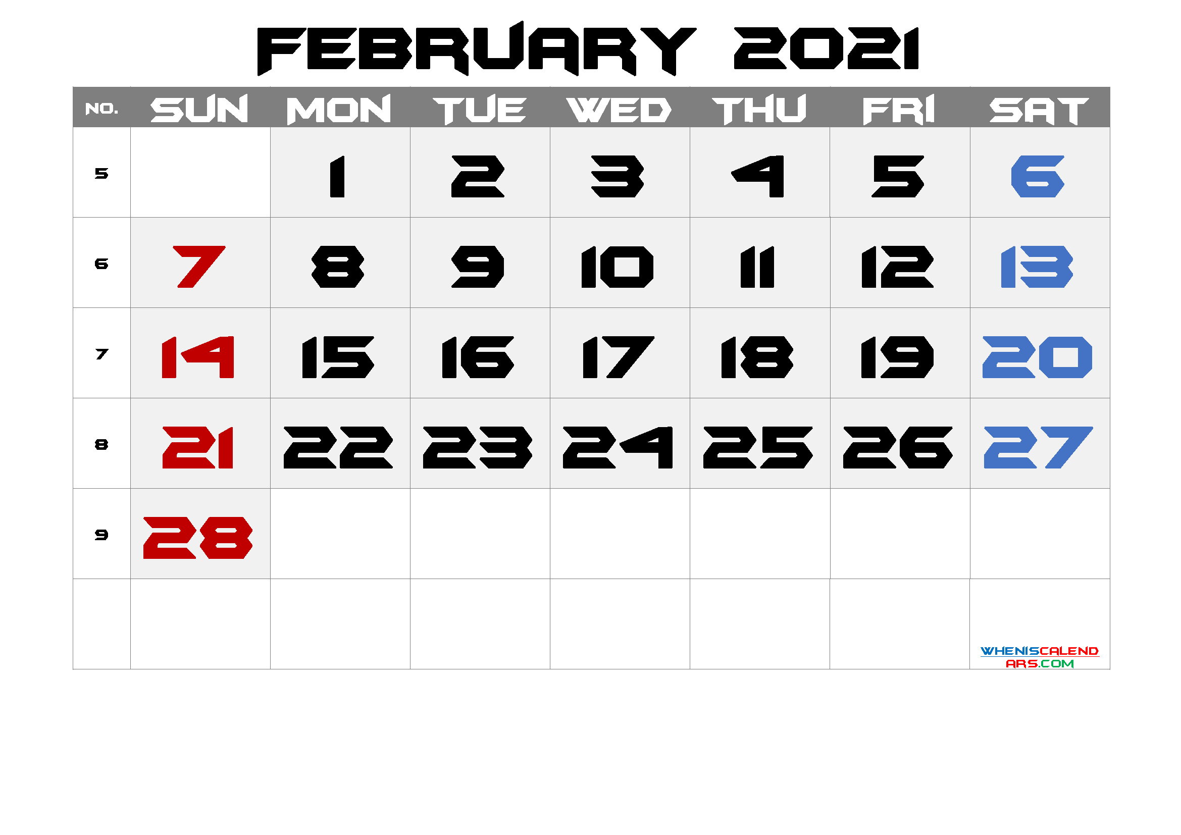 Free February 2021 Calendar with Week Numbers