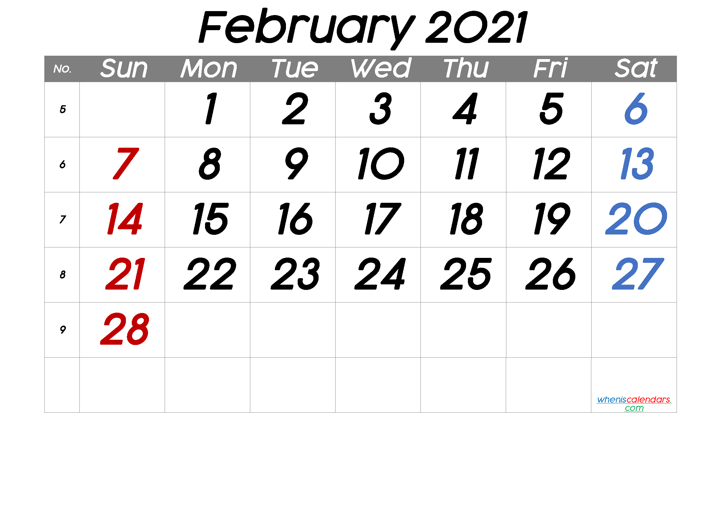 Printable February 2021 Calendar with Week Numbers