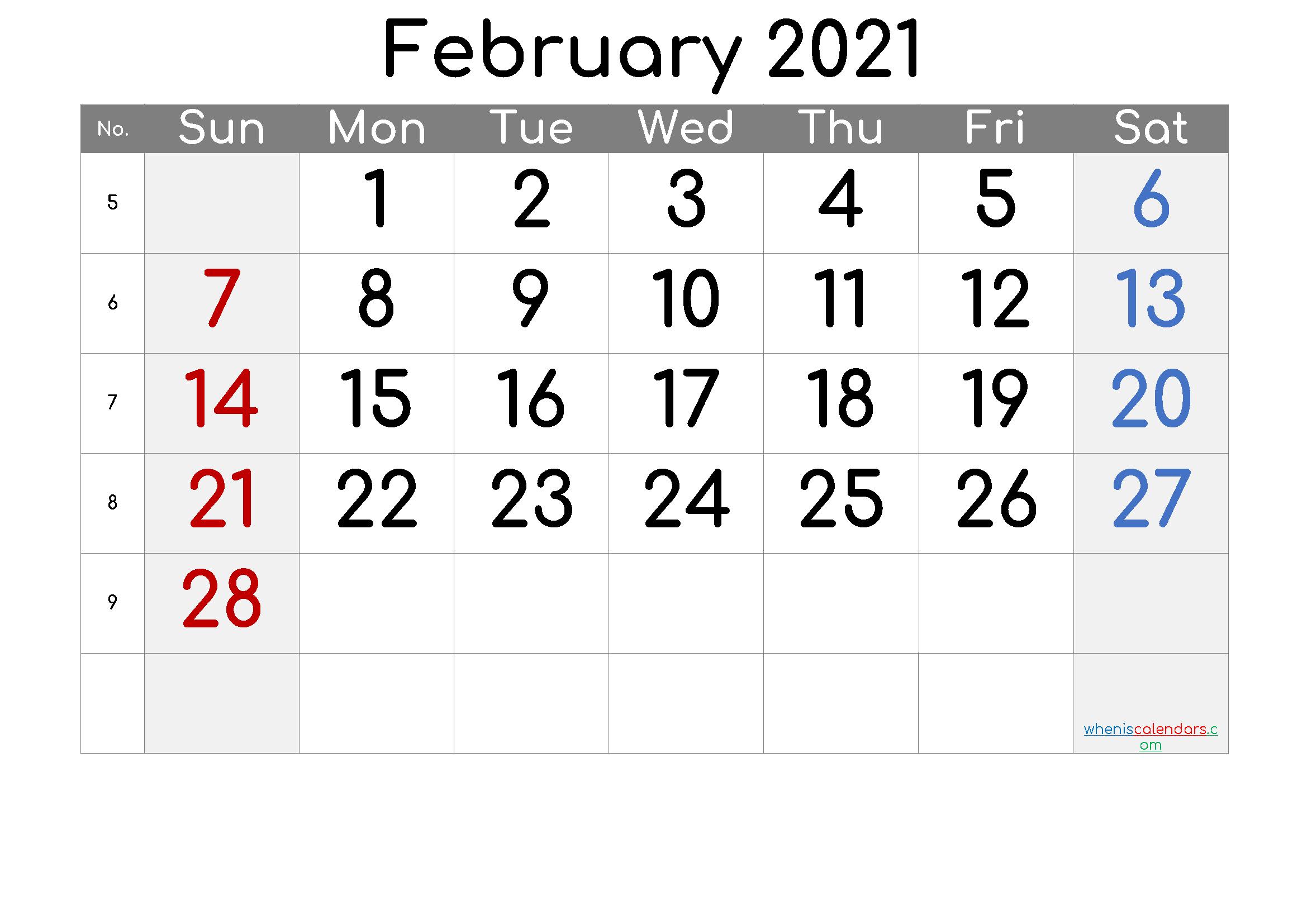 Free Printable Calendar 2021 February