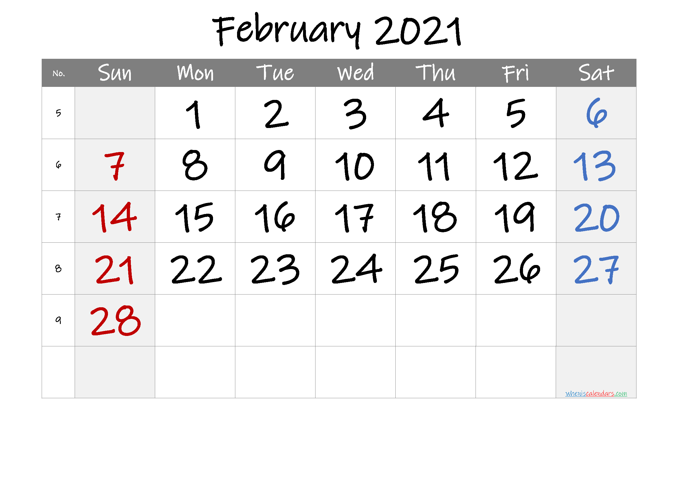 February 2021 Printable Calendar with Week Numbers