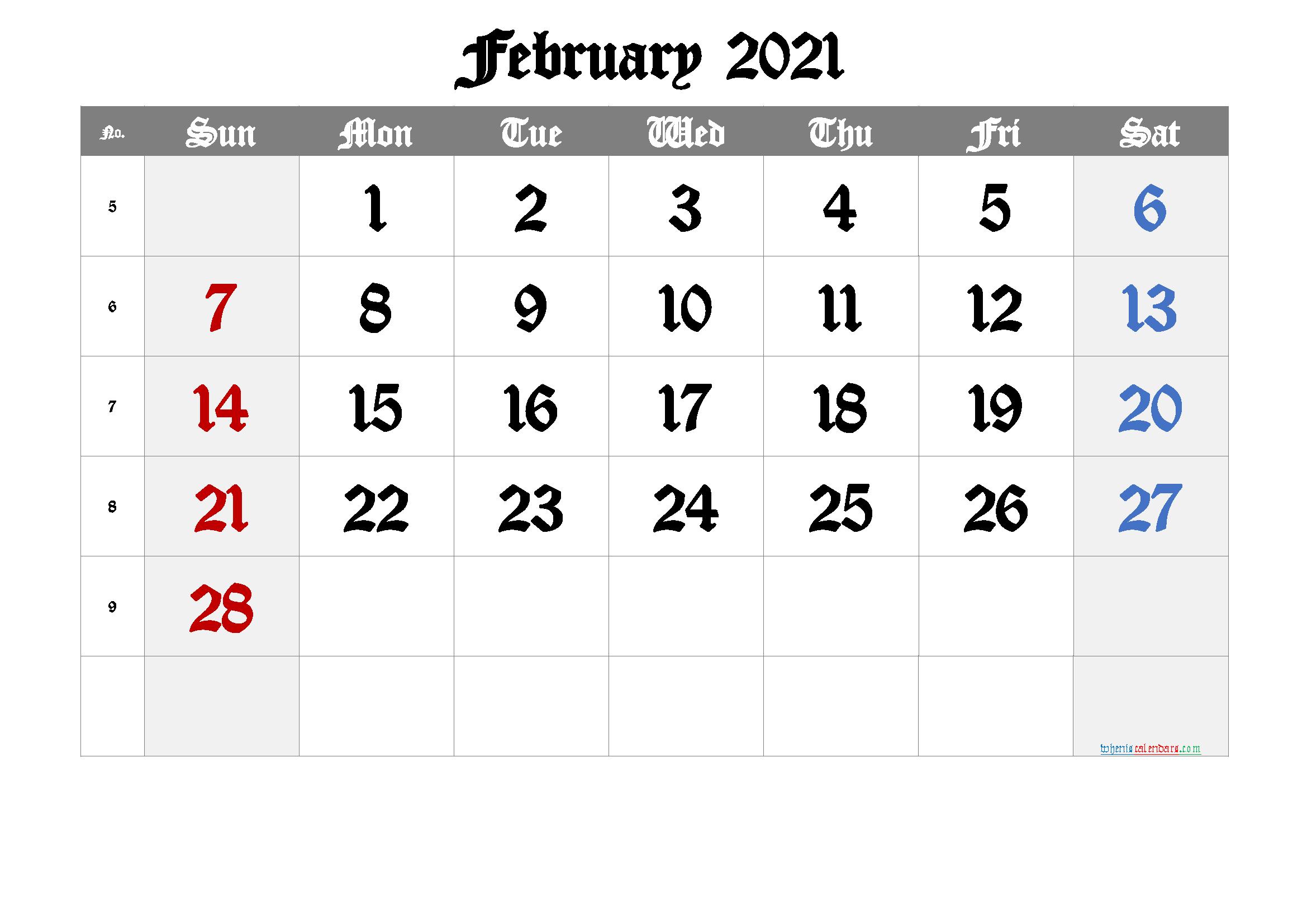 Free Printable February 2021 Calendar - 6 Templates - Free ...