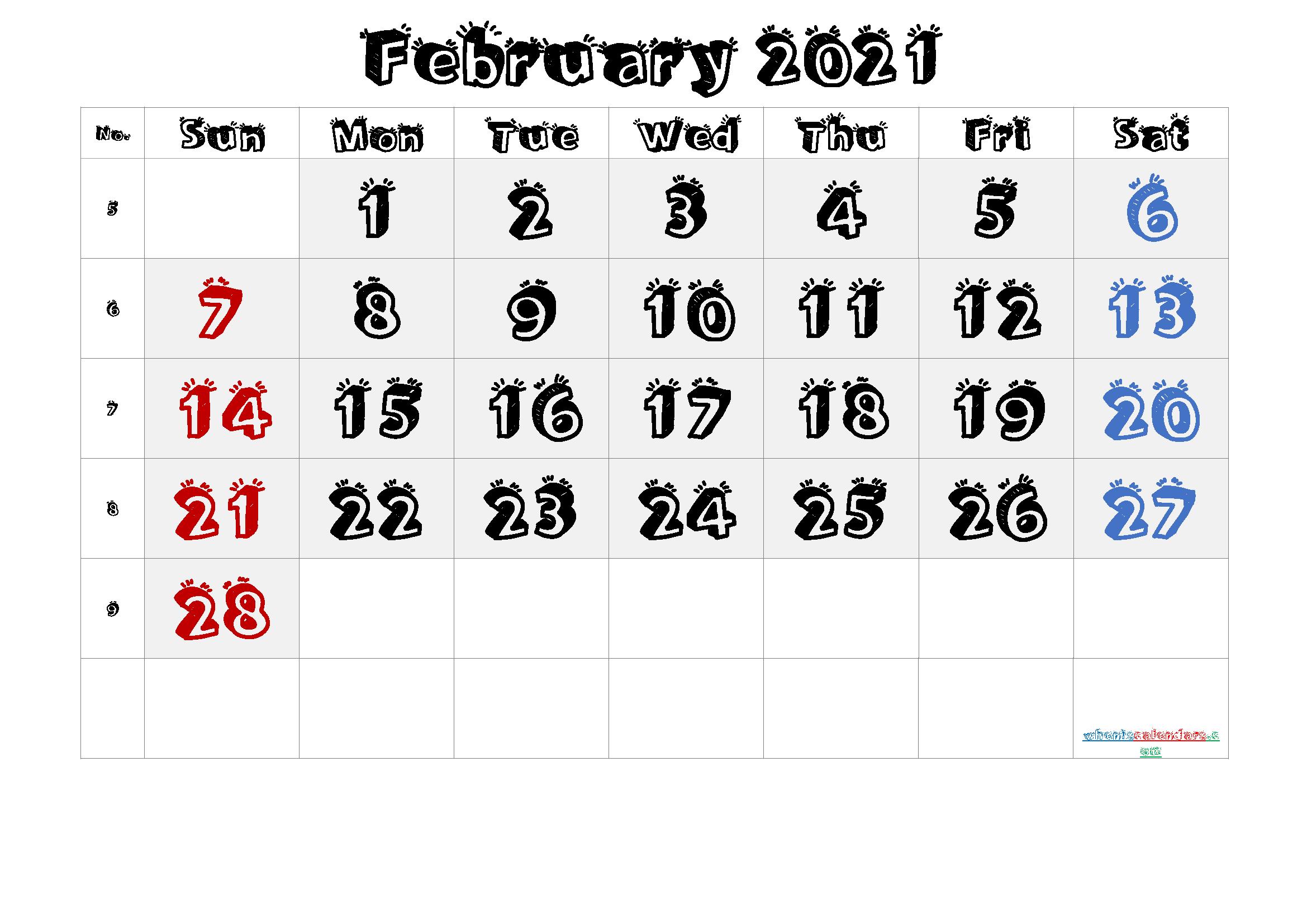 2021 February Free Printable Calendar