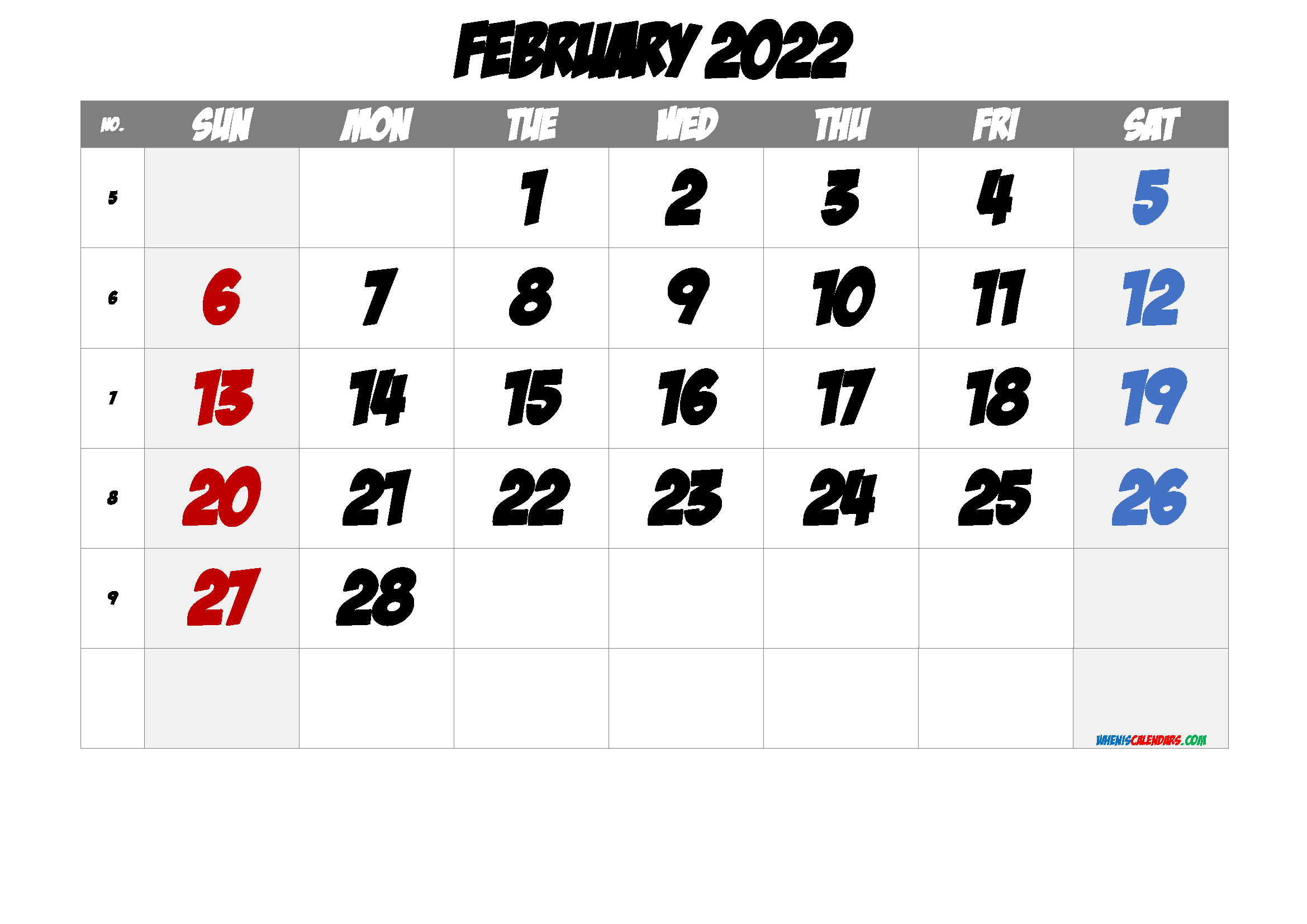 February 2022 Printable Calendar with Week Numbers