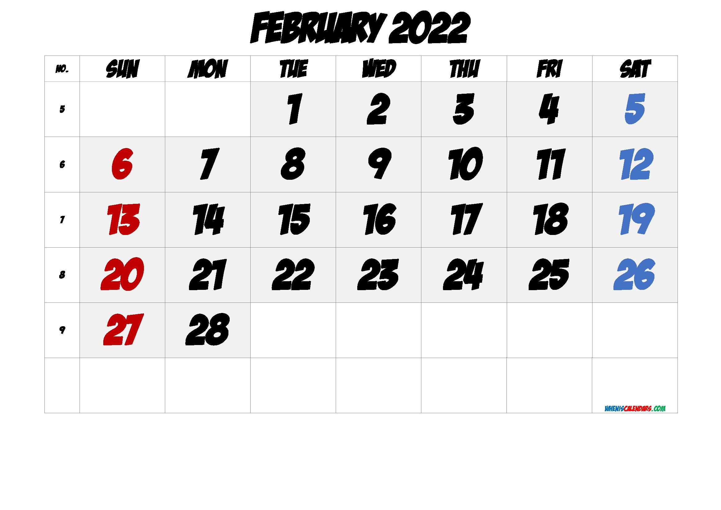Free Printable February 2022 Calendar