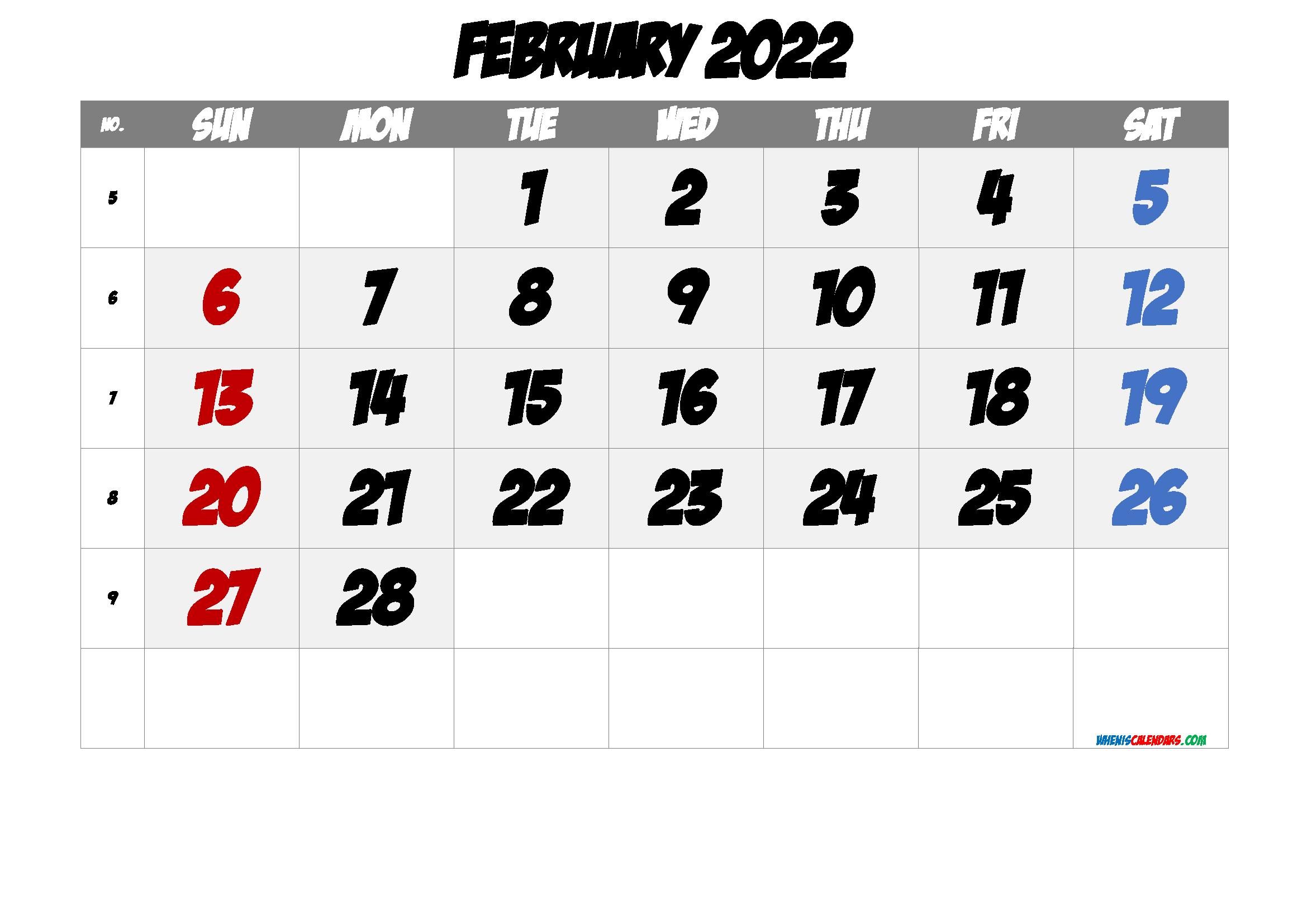 Printable Calendar February 2022