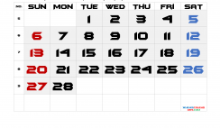 Printable February 2022 Calendar with Week Numbers
