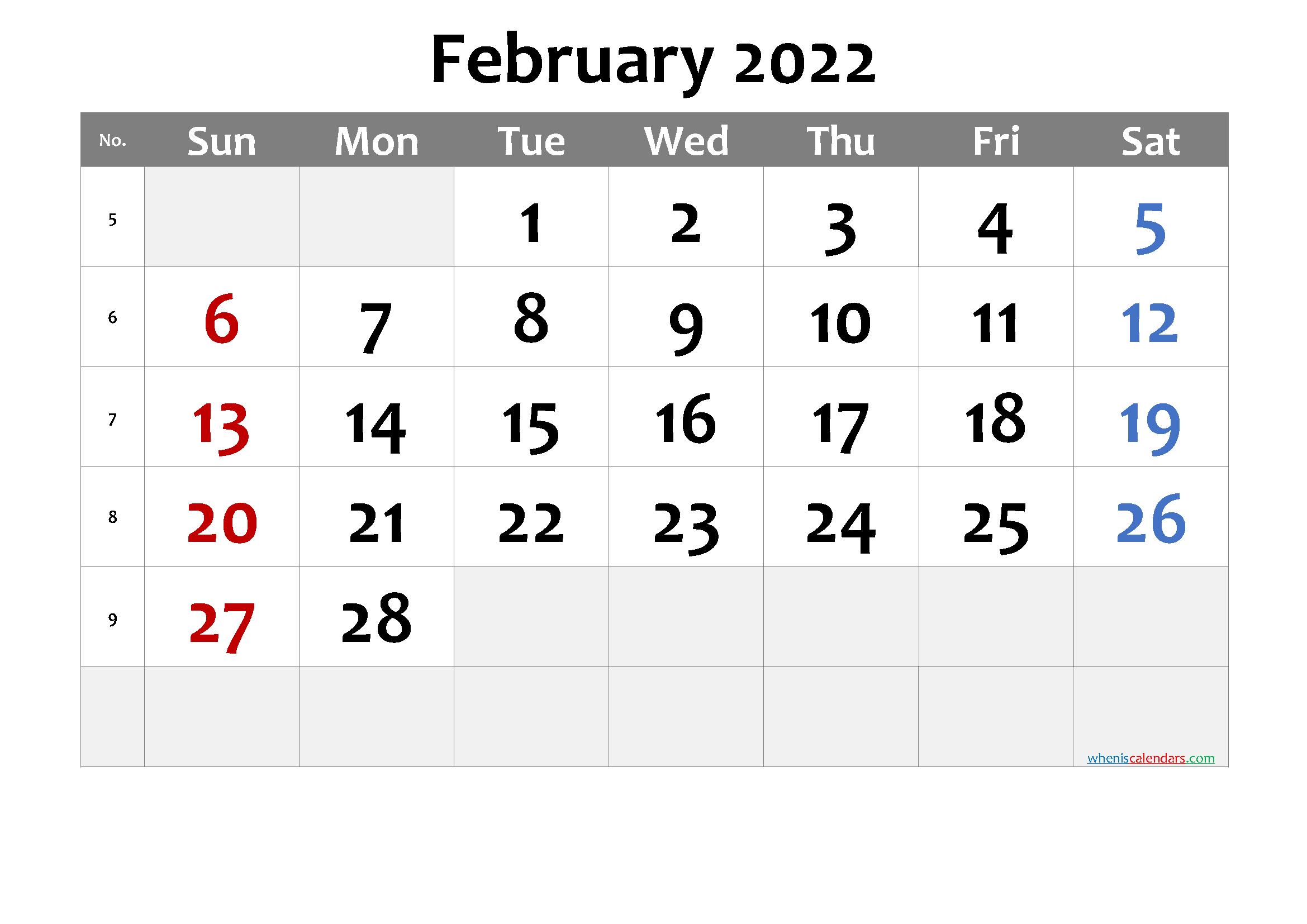 February 2022 Printable Calendar