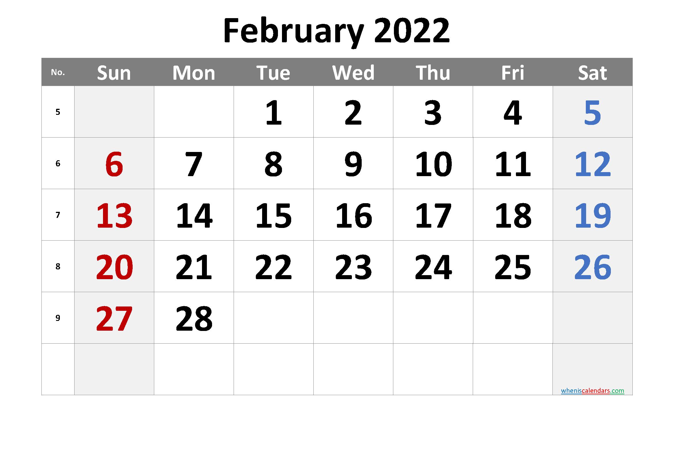 2022 February Free Printable Calendar - 6 Templates | Free ...