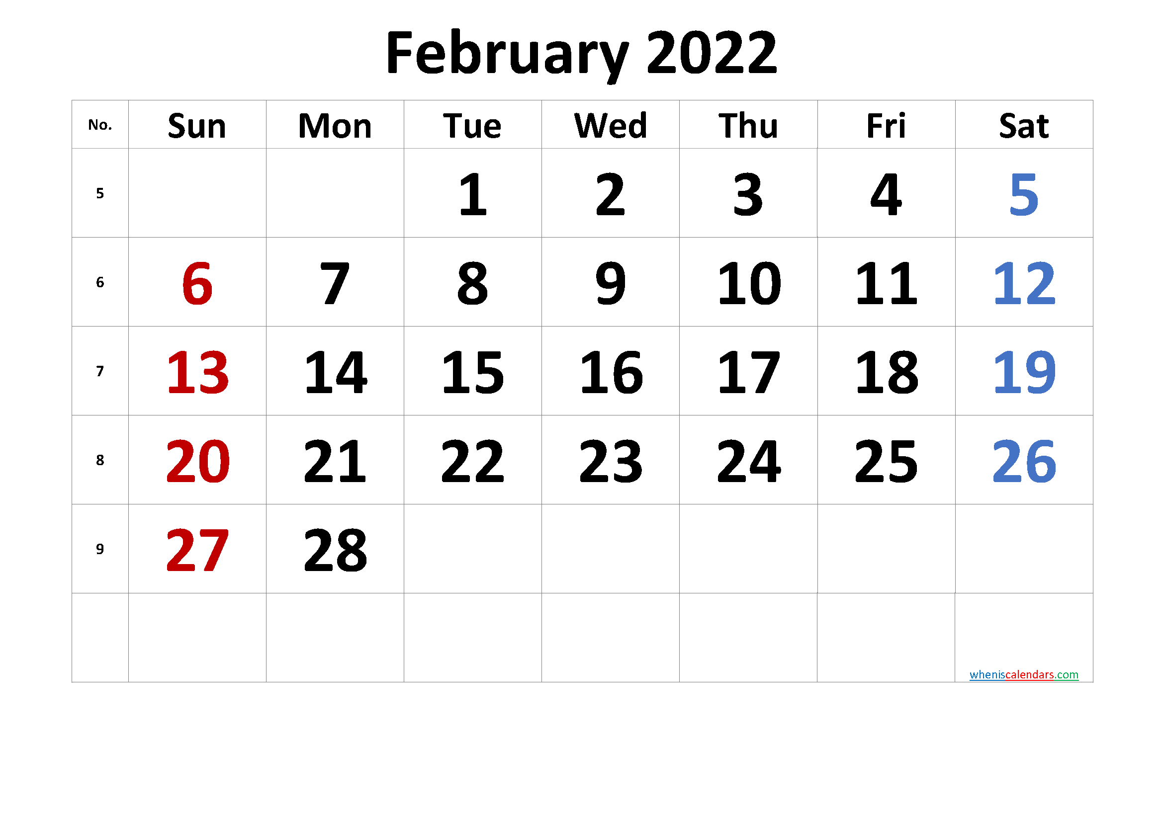 Free February 2022 Calendar with Week Numbers