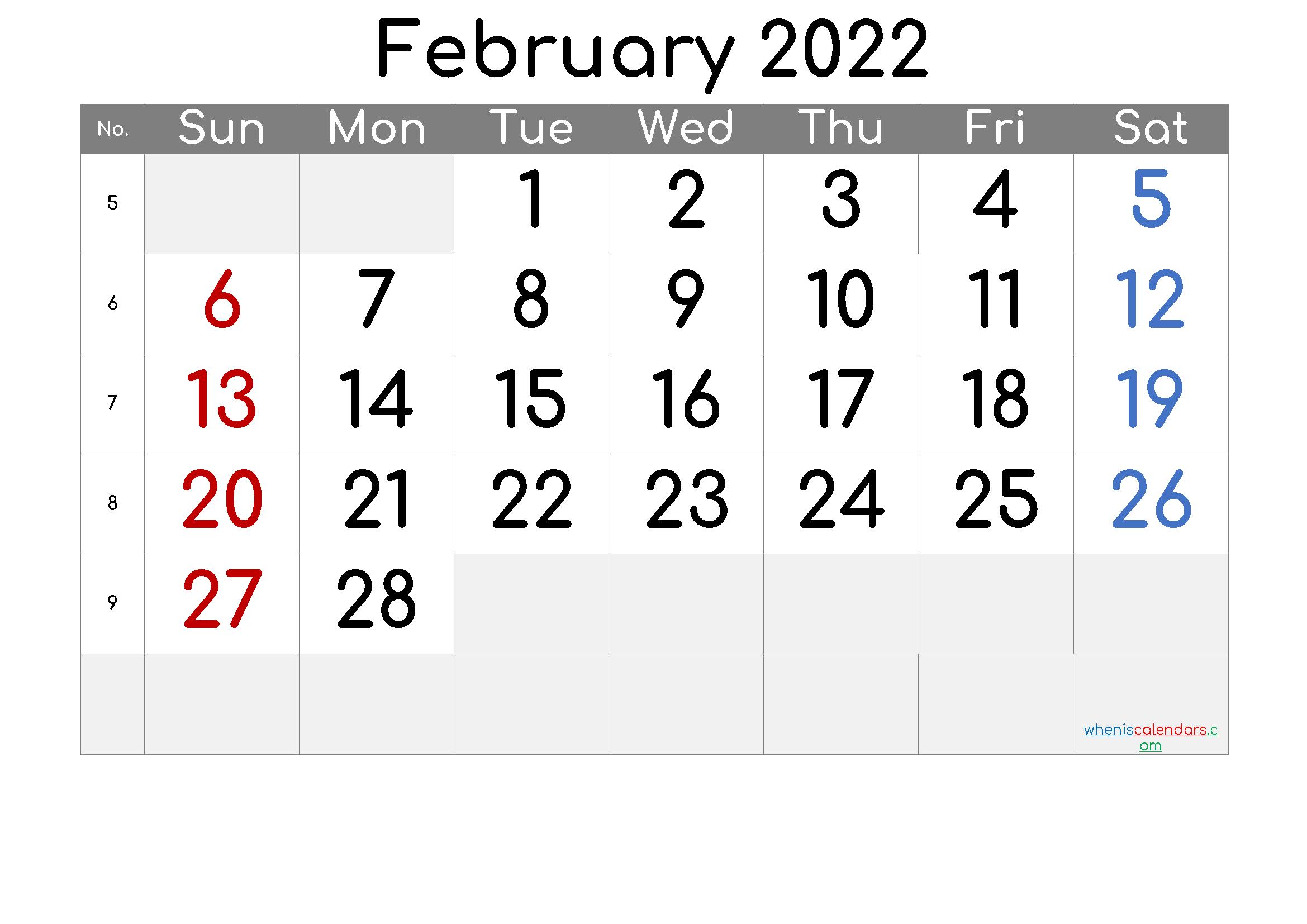 2022 February Free Printable Calendar