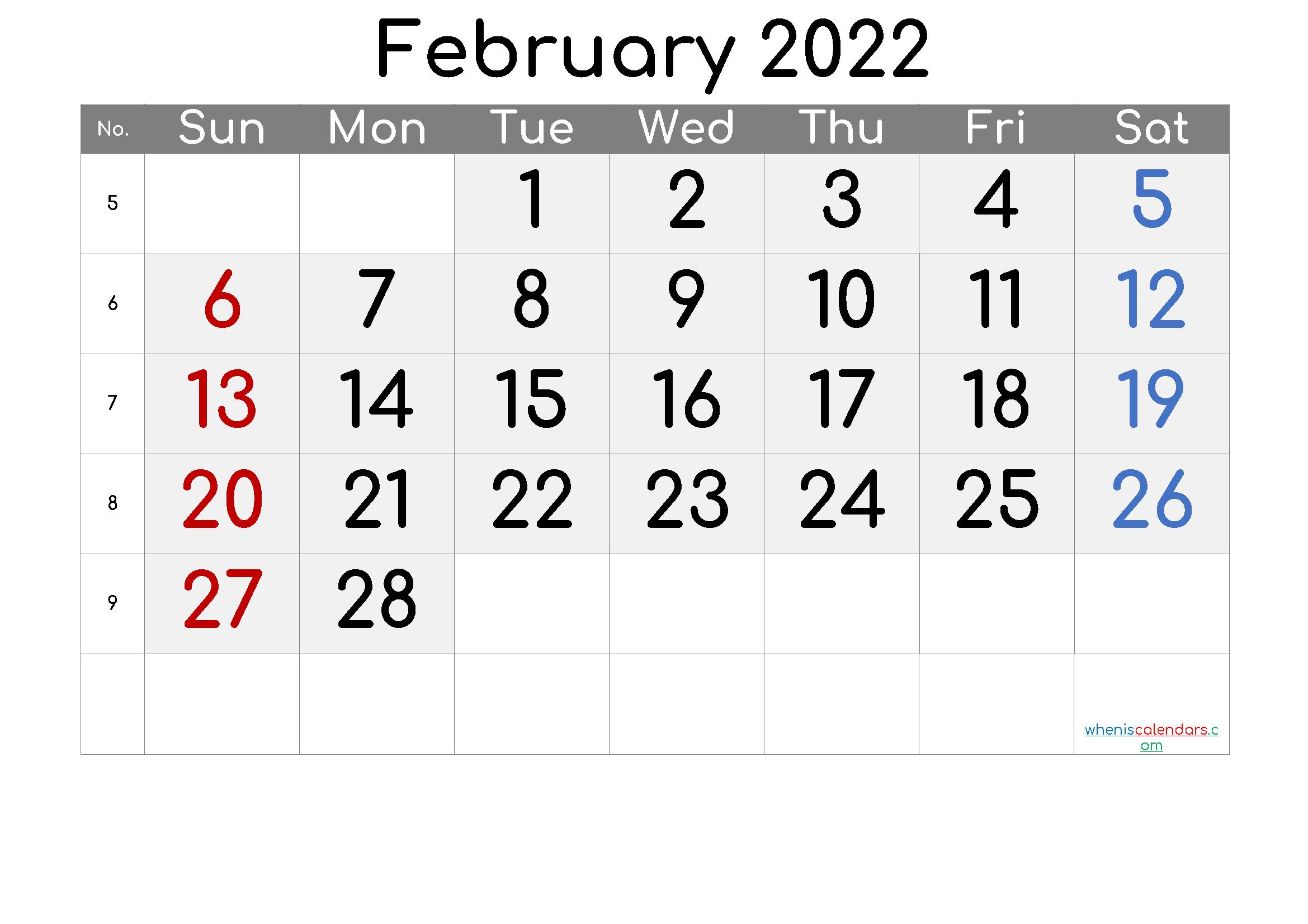 Free February 2022 Calendar with Week Numbers