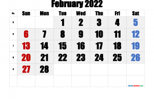Download Free Printable Calendar February 2022