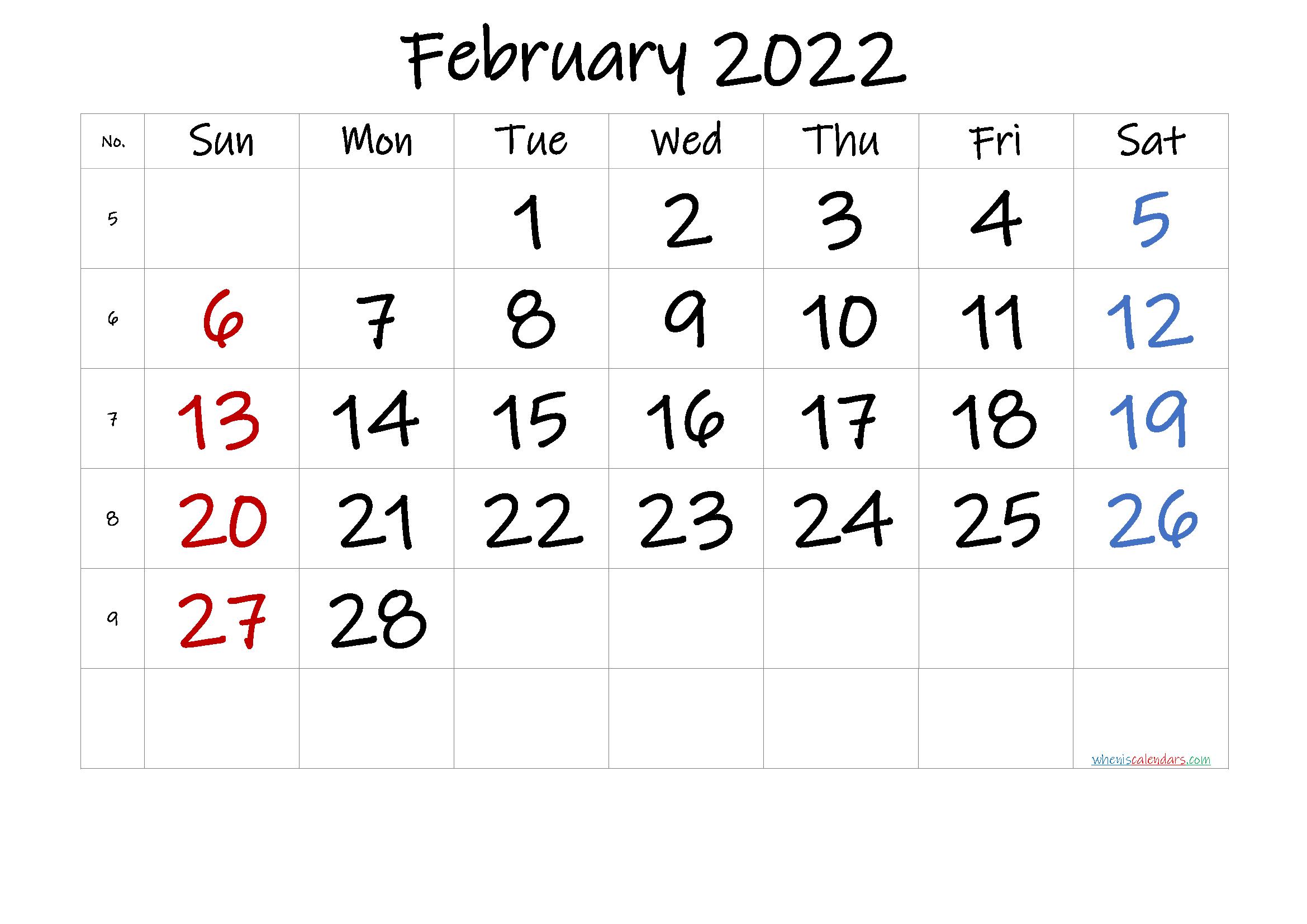 Free February 2022 Calendar
