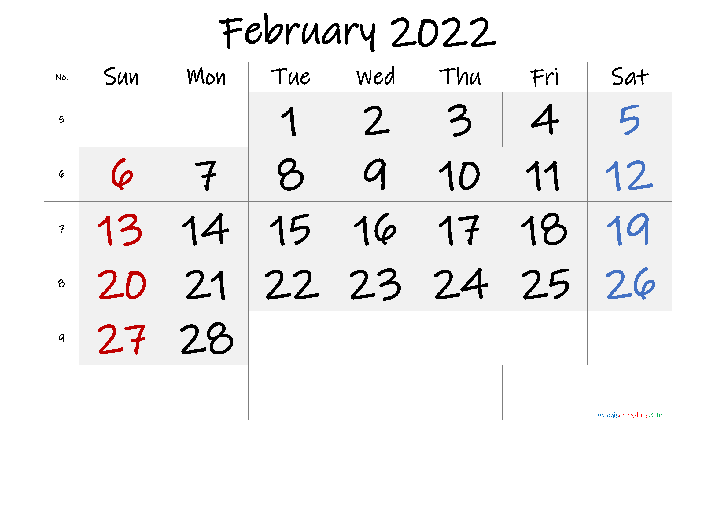 Free Printable February 2022 Calendar with Week Numbers