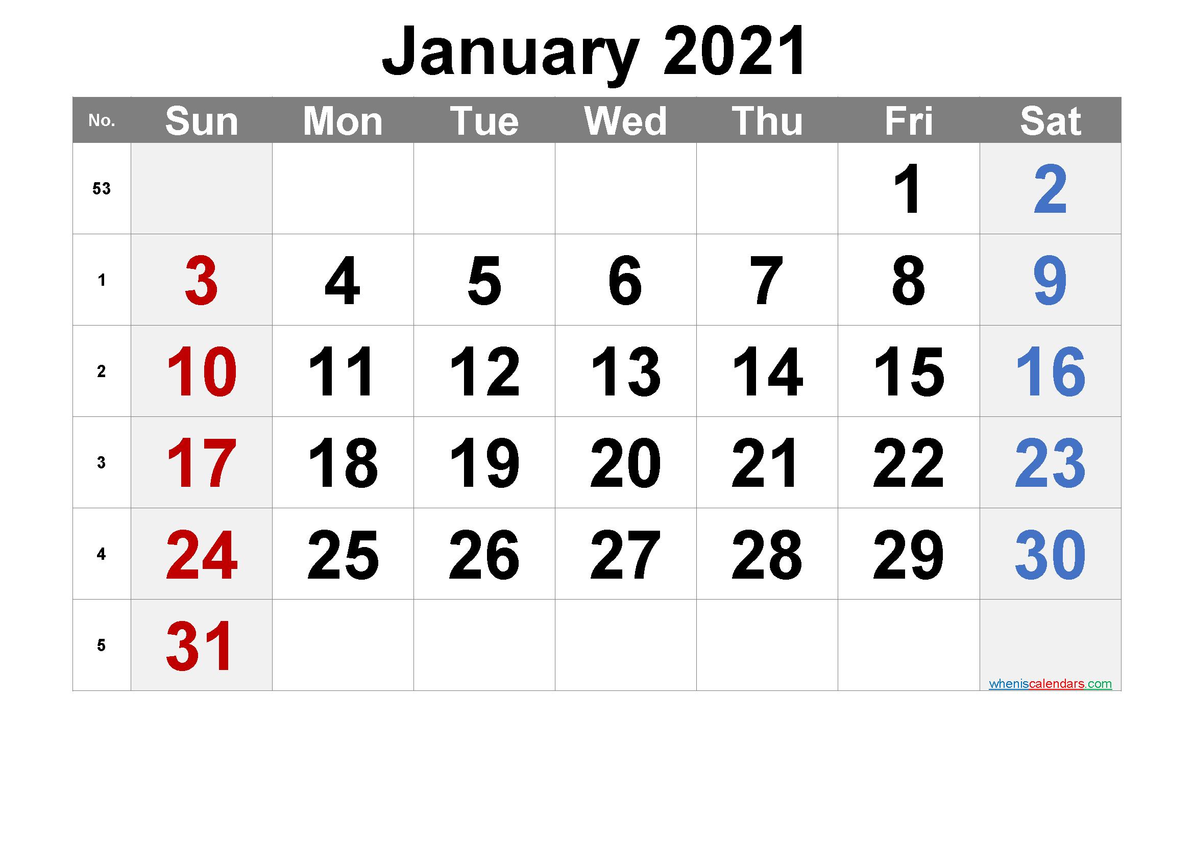 Free January 2021 Calendar