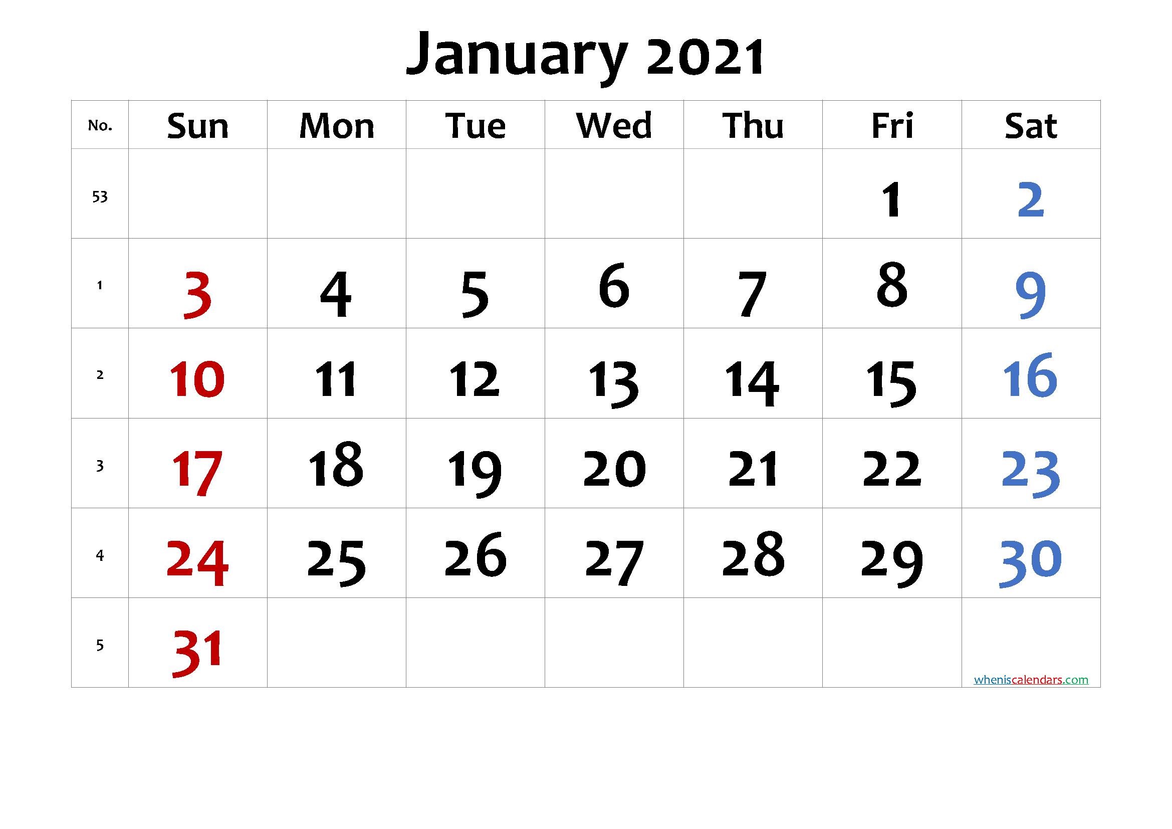 Free Printable Calendar 2021 January