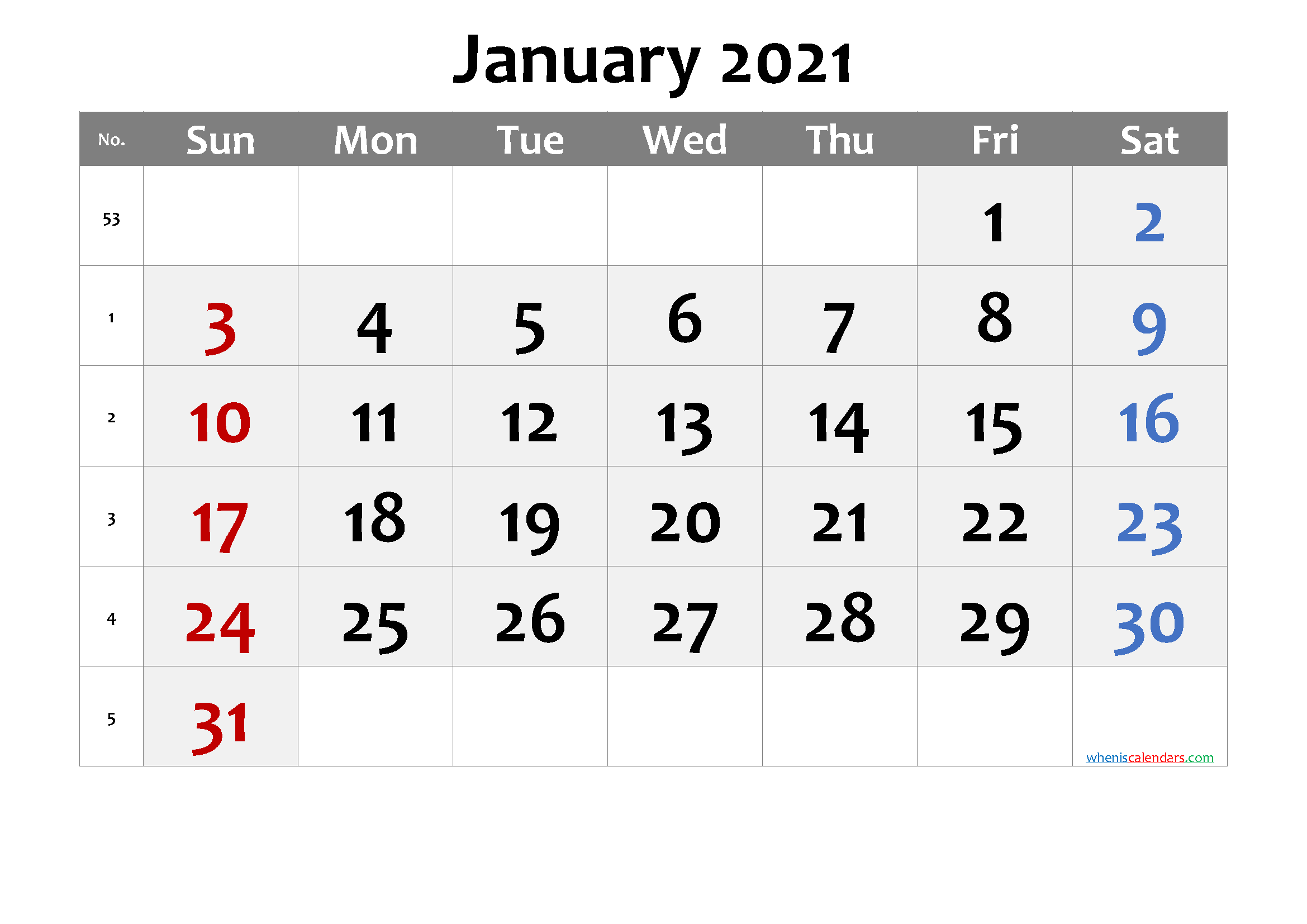 January 2021 Printable Calendar with Week Numbers