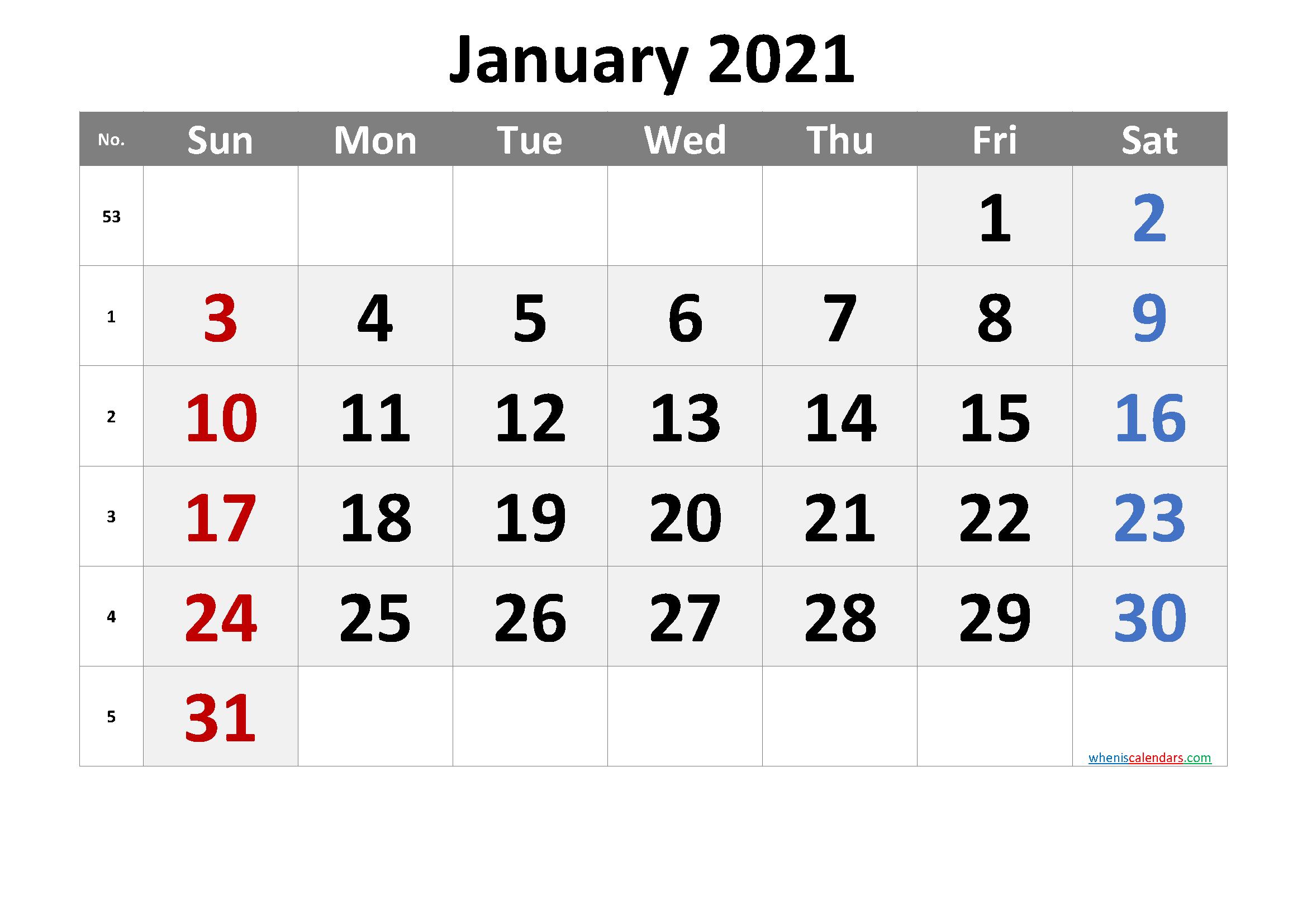Printable Calendar January 2021