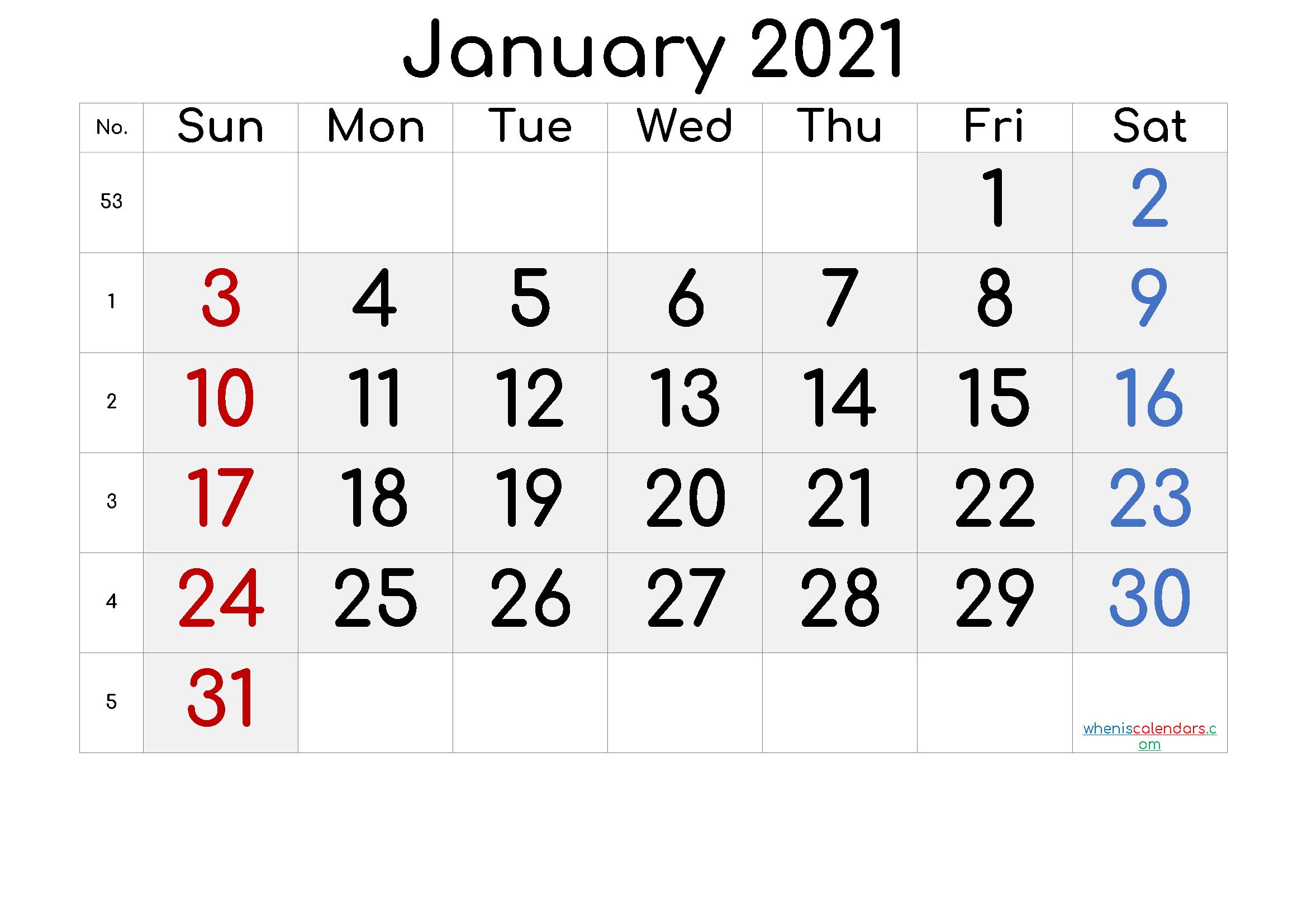 Printable January 2021 Calendar with Week Numbers