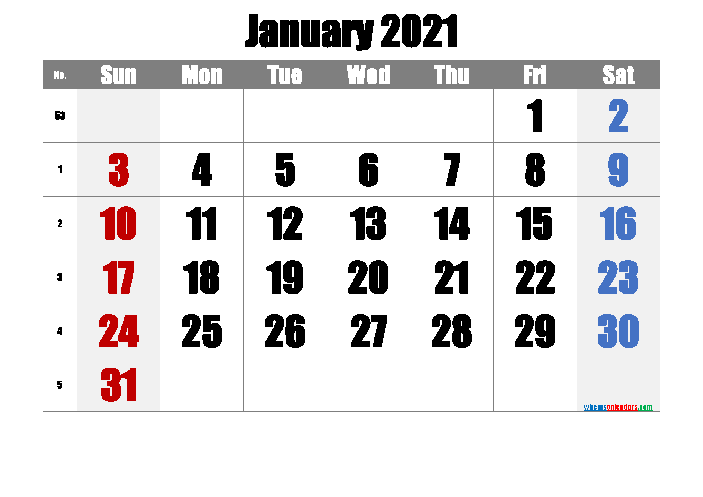 Free January 2021 Calendar with Week Numbers