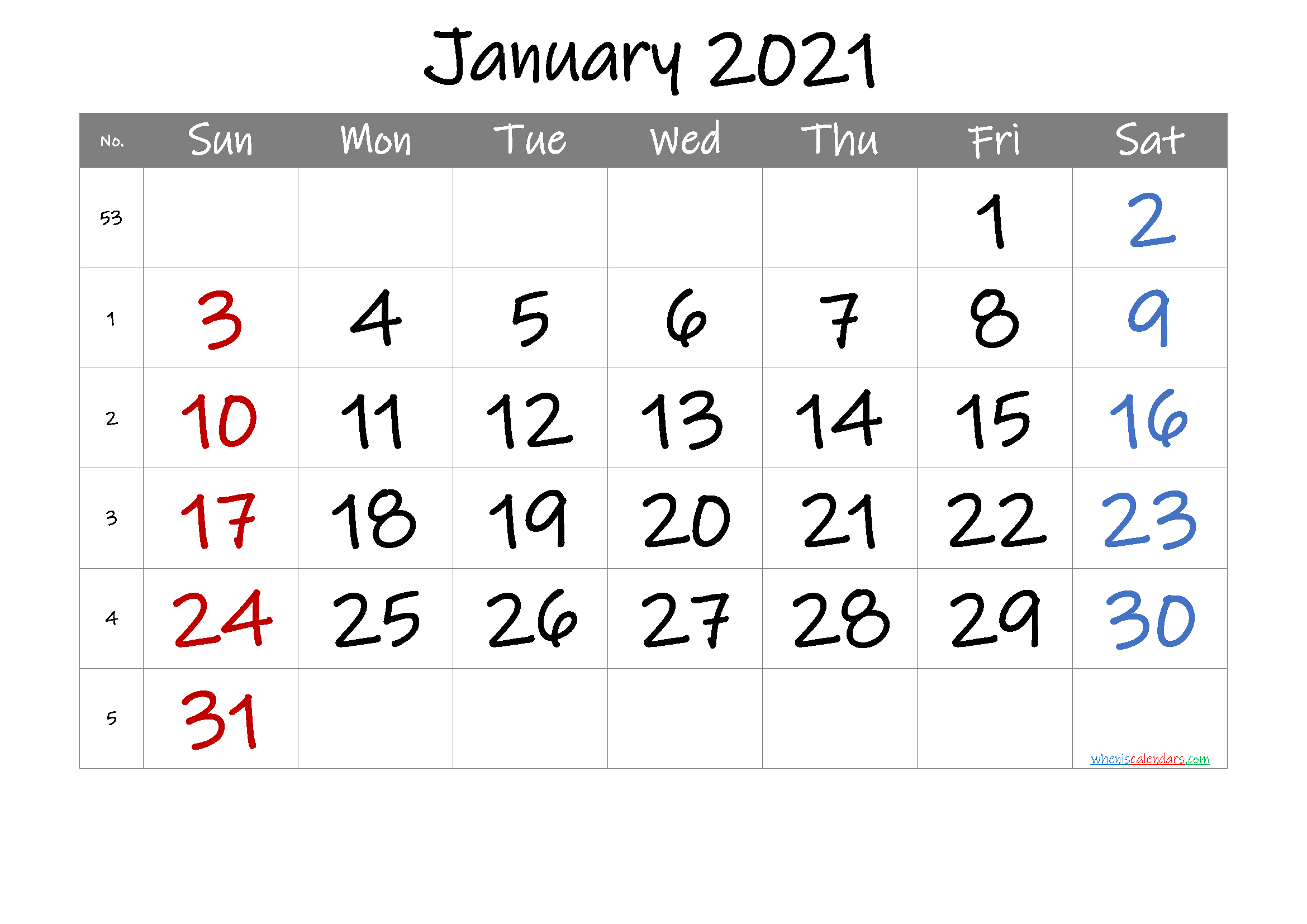 2021 January Free Printable Calendar