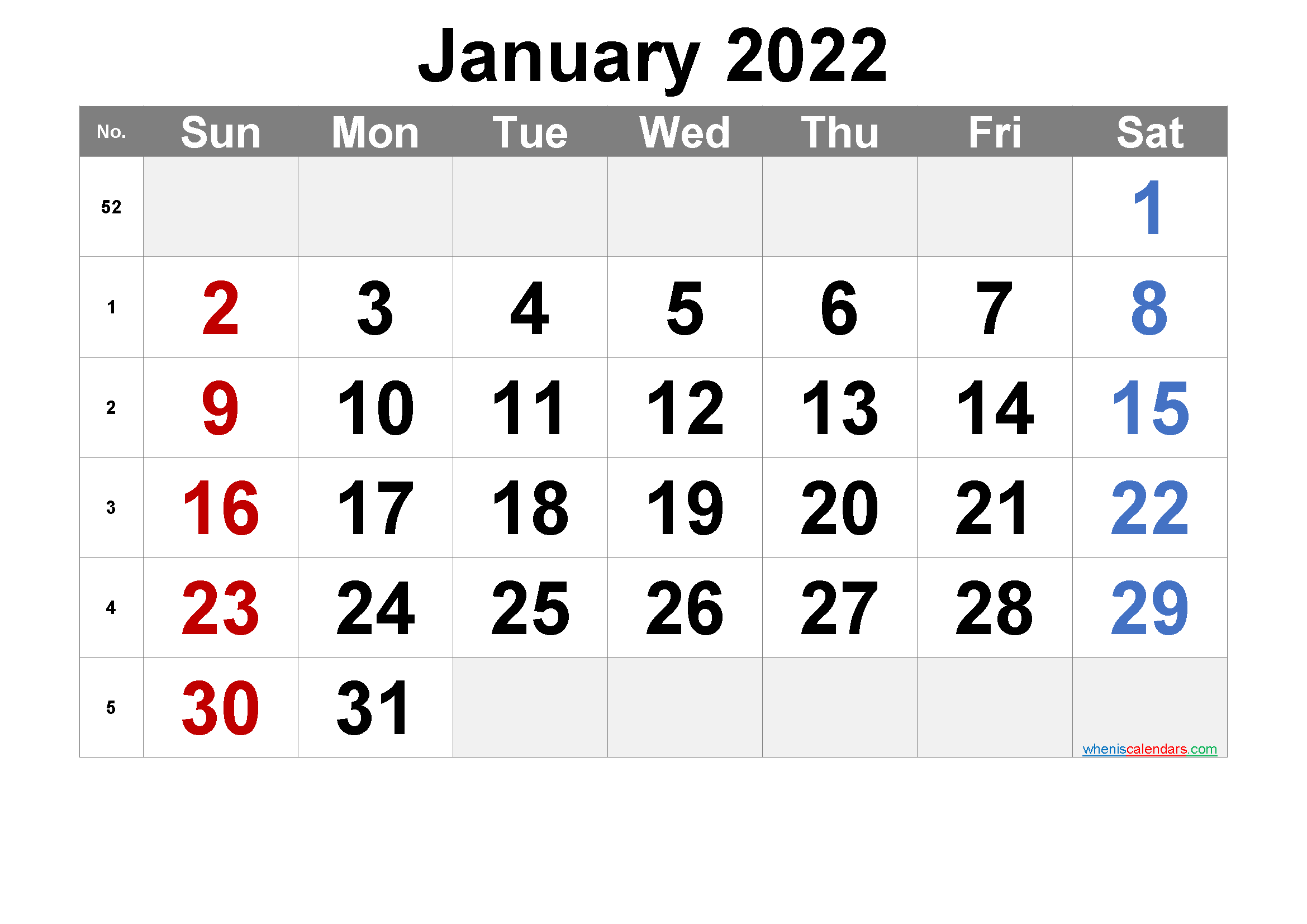 Free Printable January 2022 Calendar with Week Numbers