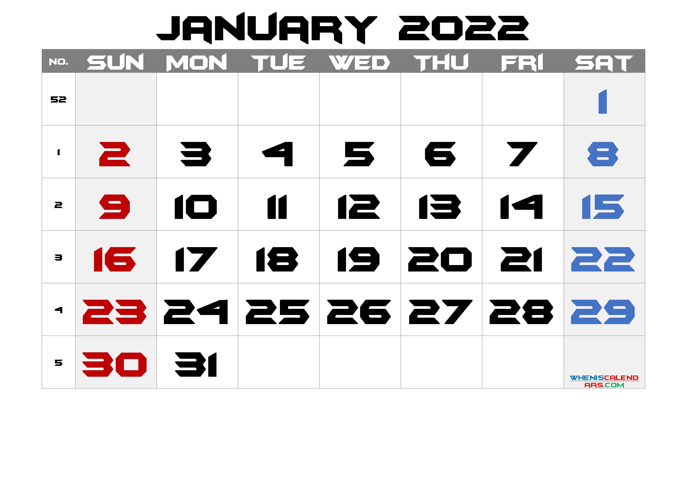Printable Calendar 2022 January