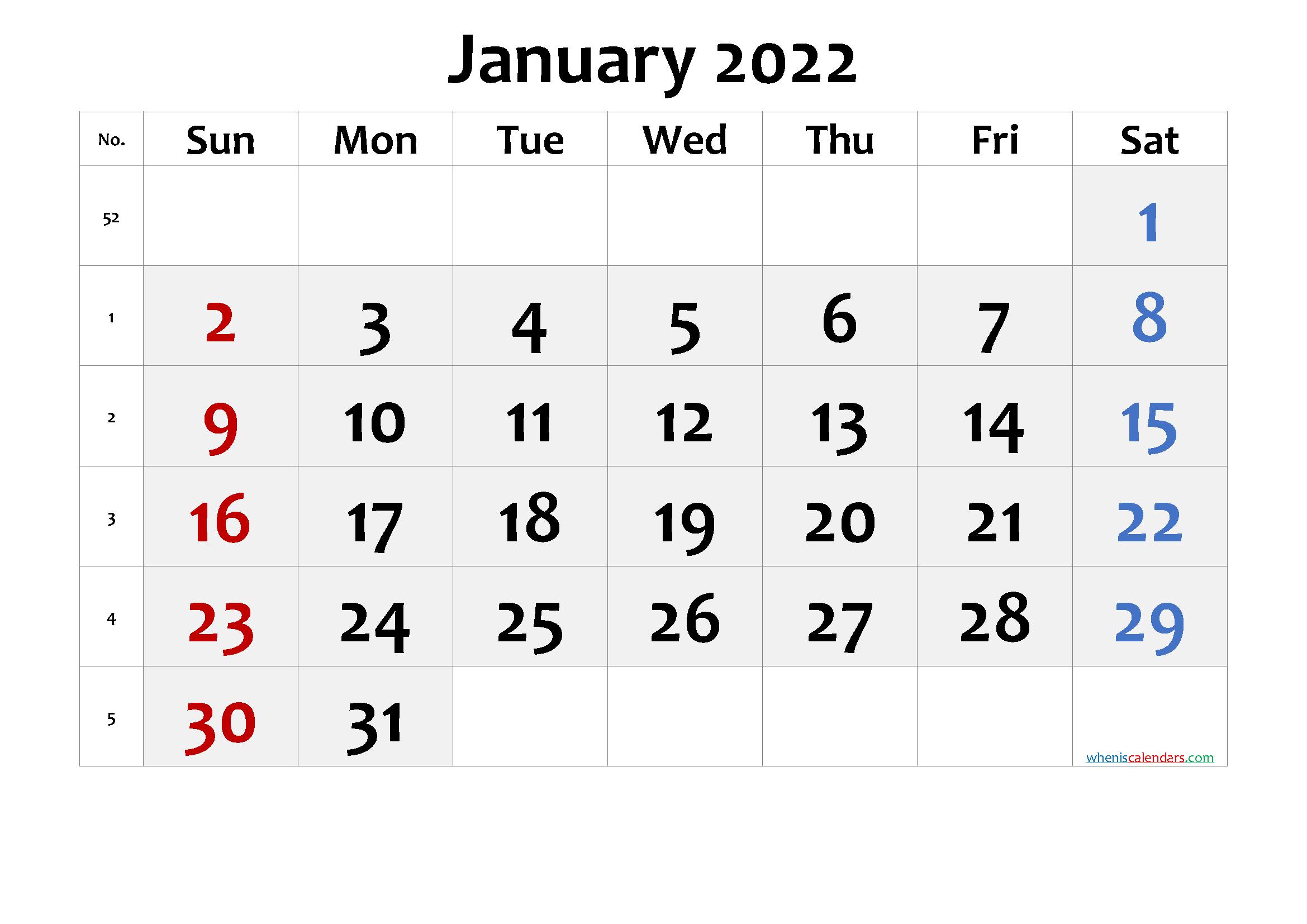 2022 January Free Printable Calendar