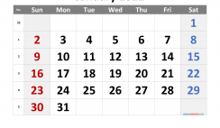 Free Printable 2022 January Calendar