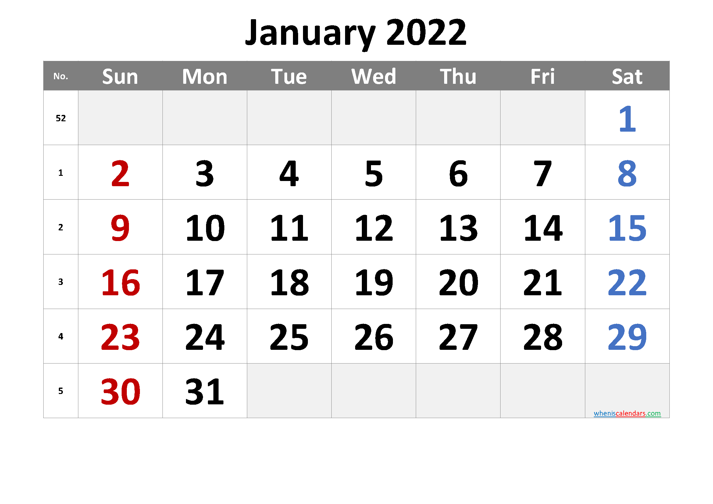 Printable January 2022 Calendar with Week Numbers