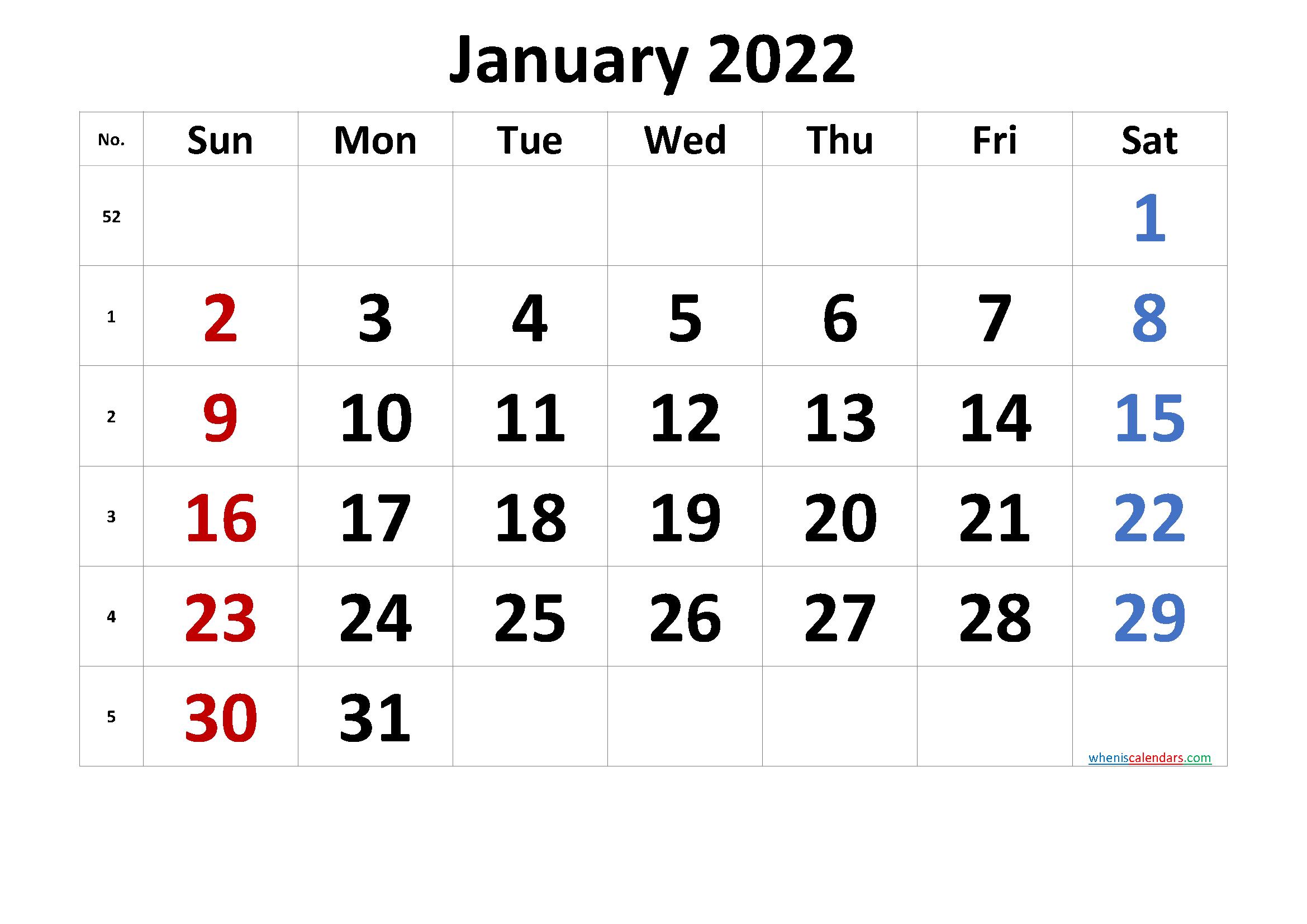 Free January 2022 Calendar with Week Numbers
