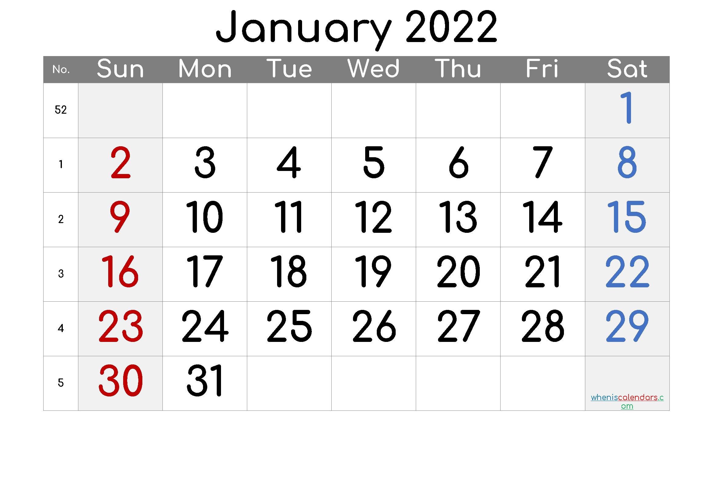 Free Printable Calendar 2022 January