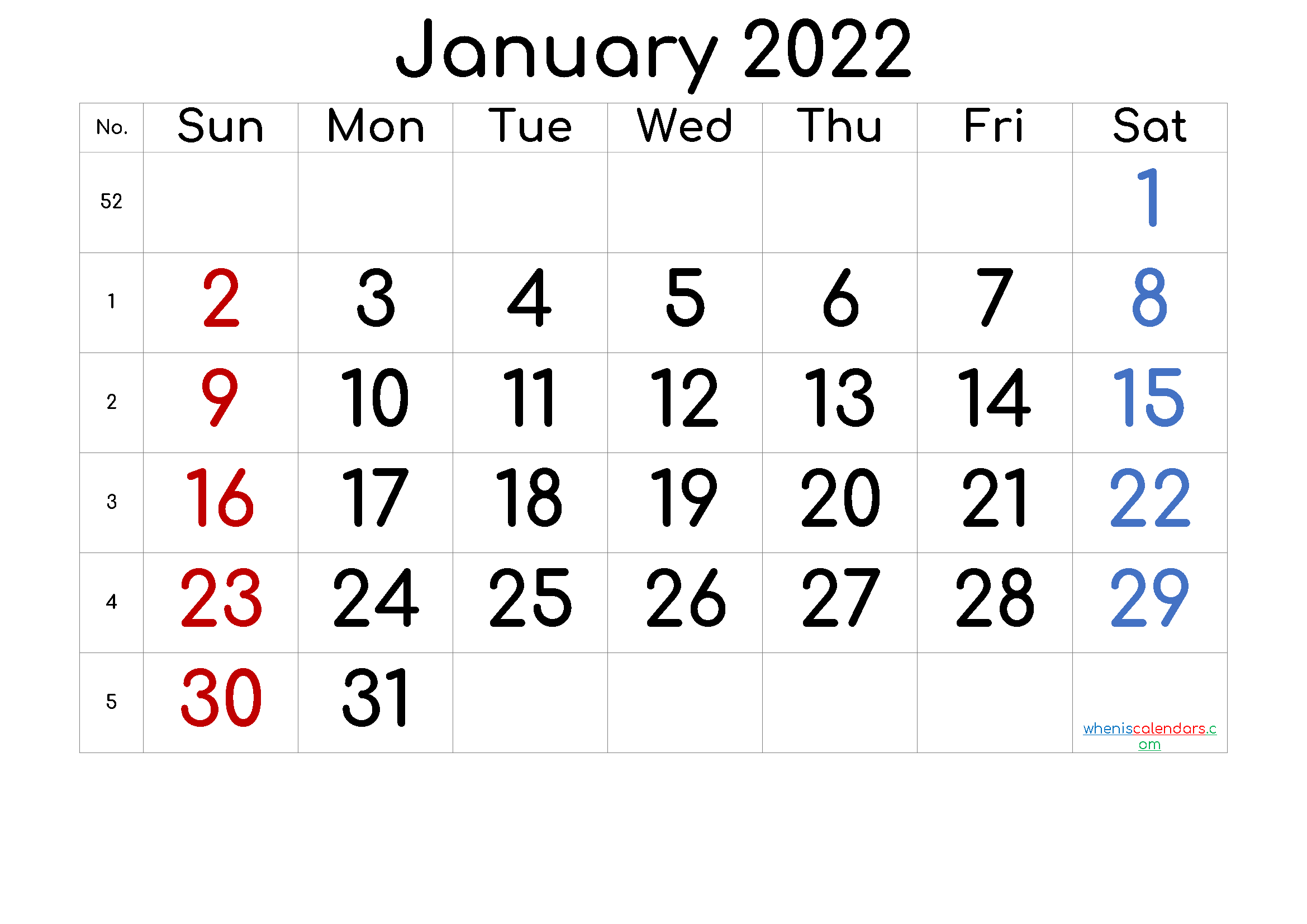January 2022 Printable Calendar with Week Numbers