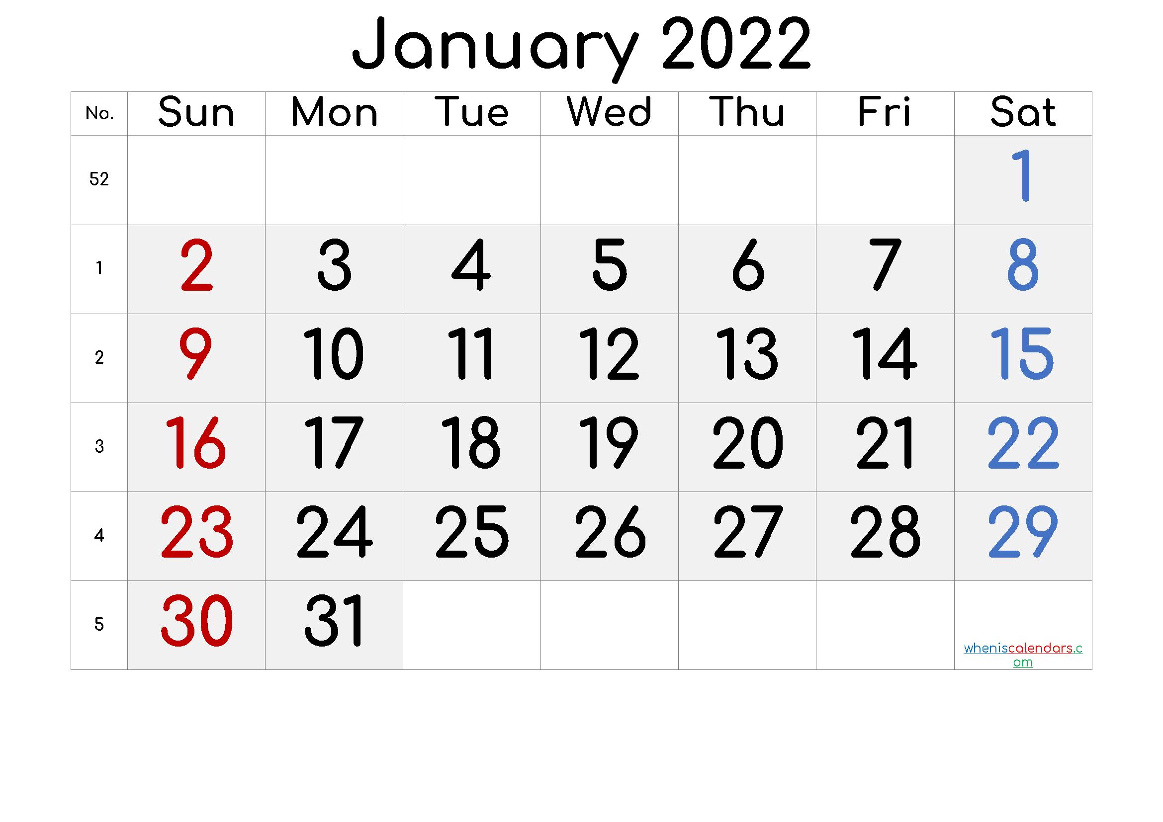 Printable January 2022 Calendar with Week Numbers